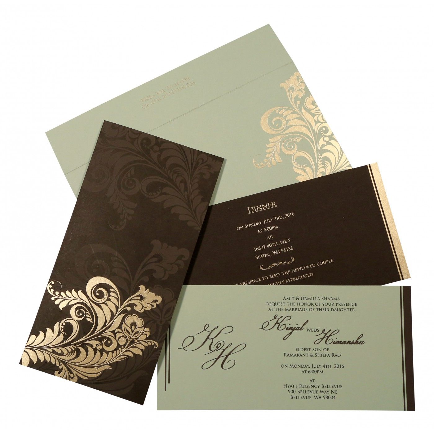 DARK BROWN MATTE FLORAL THEMED - SCREEN PRINTED WEDDING CARD : CD-8259C - IndianWeddingCards