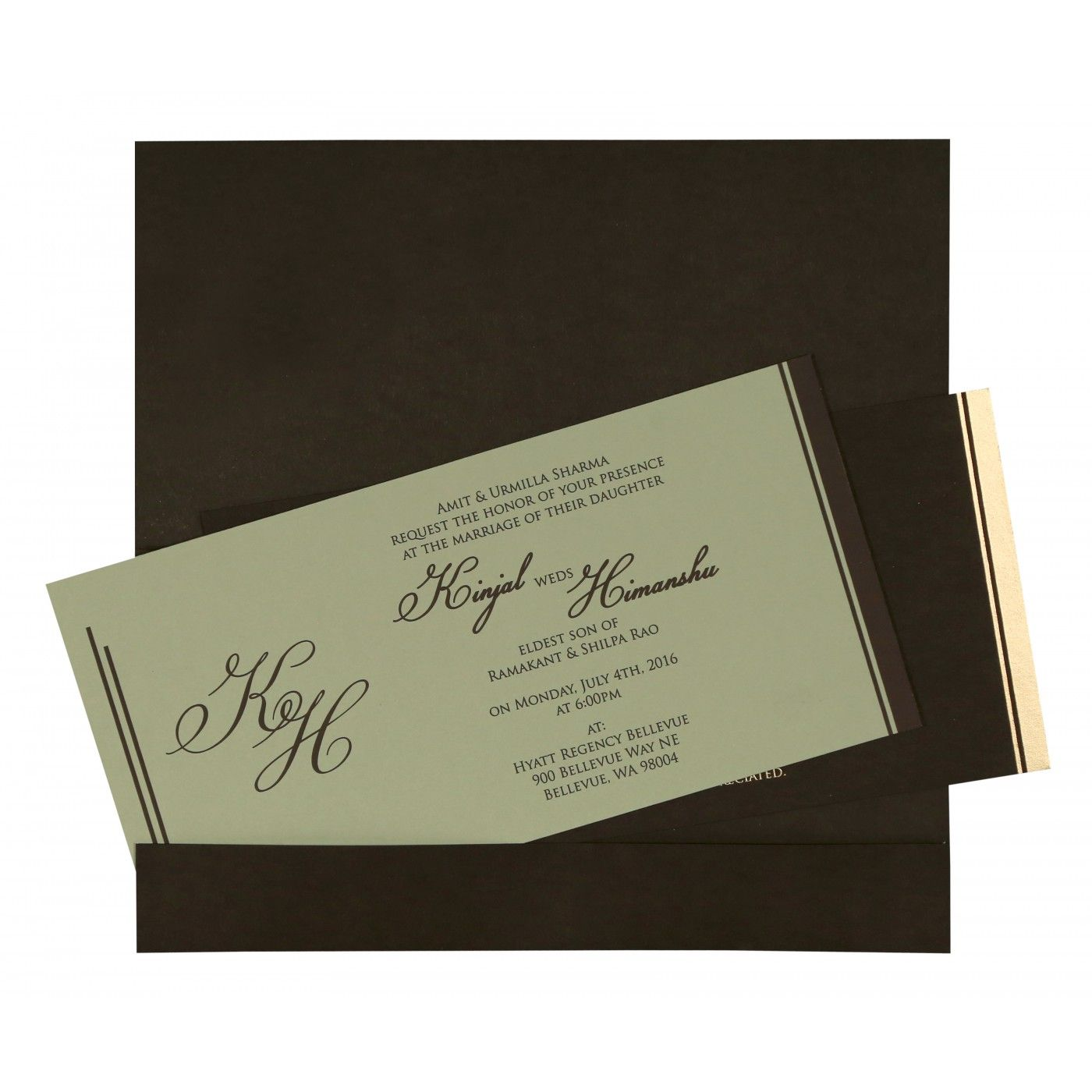 DARK BROWN MATTE FLORAL THEMED - SCREEN PRINTED WEDDING CARD : CRU-8259C - IndianWeddingCards