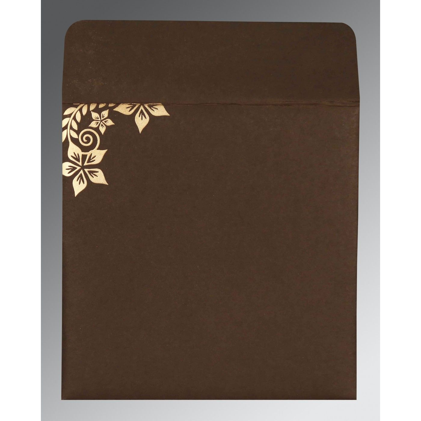 BROWN MATTE FLORAL THEMED - SCREEN PRINTED WEDDING INVITATION : CS-8240E - IndianWeddingCards