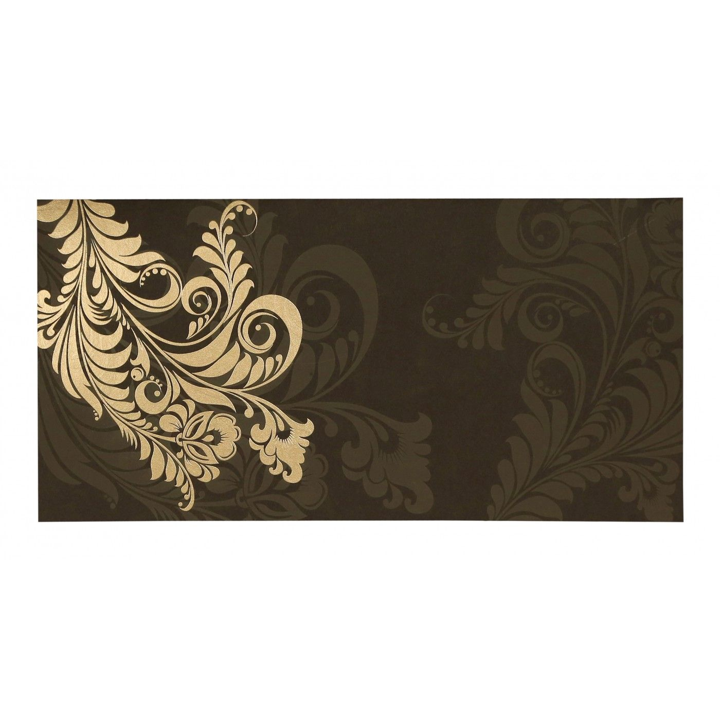 DARK BROWN MATTE FLORAL THEMED - SCREEN PRINTED WEDDING CARD : CSO-8259C - IndianWeddingCards