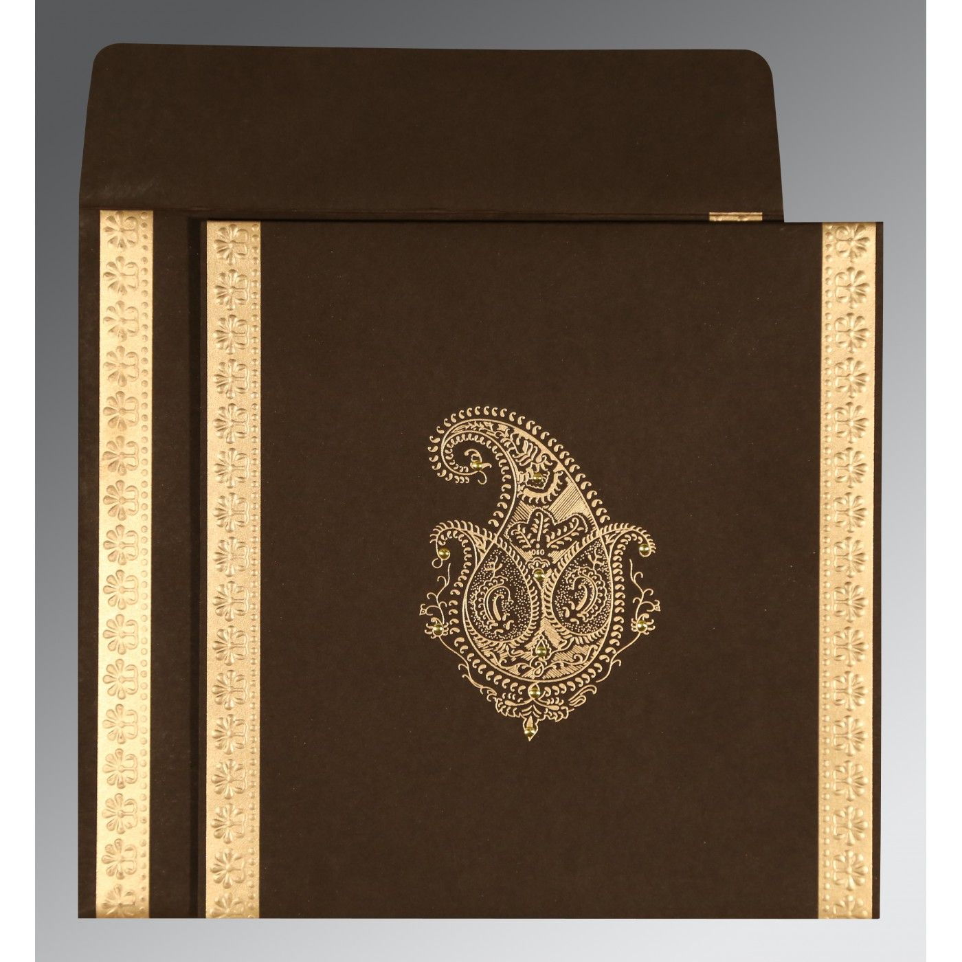 MOROCCO BROWN MATTE PAISLEY THEMED - EMBOSSED WEDDING INVITATION : CS-8231D - IndianWeddingCards