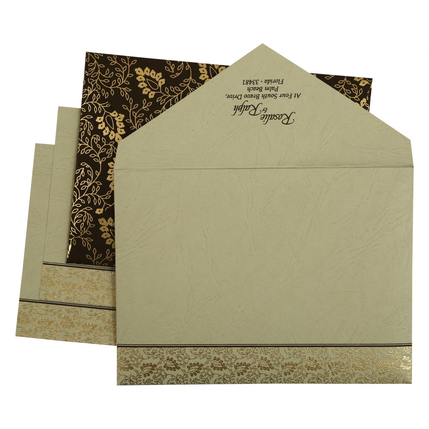 BROWN MATTE PAISLEY THEMED - SCREEN PRINTED WEDDING INVITATION : CIN-811A - IndianWeddingCards