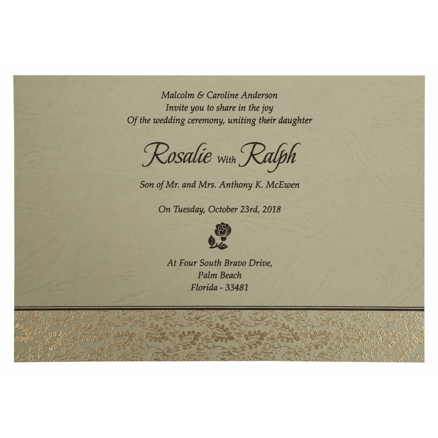BROWN MATTE PAISLEY THEMED - SCREEN PRINTED WEDDING INVITATION : CRU-811A - IndianWeddingCards