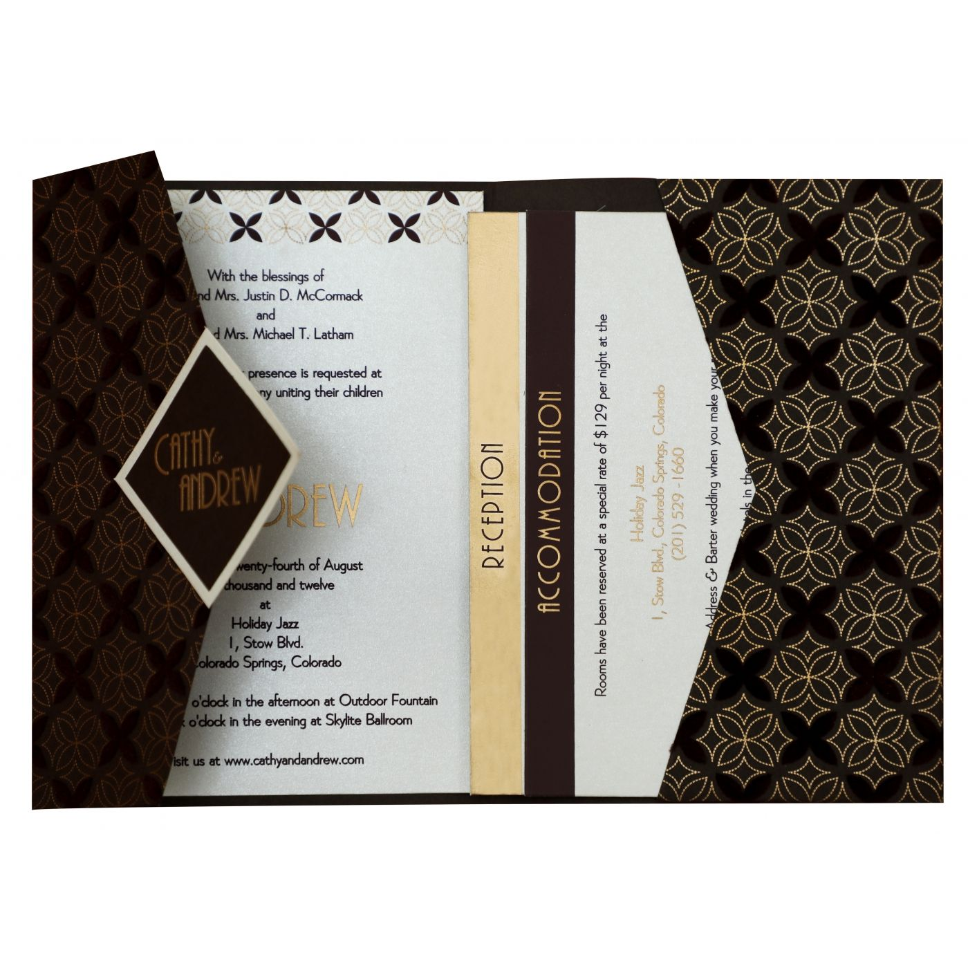 BROWN MATTE PAISLEY THEMED - SCREEN PRINTED WEDDING INVITATION : CW-826 - IndianWeddingCards