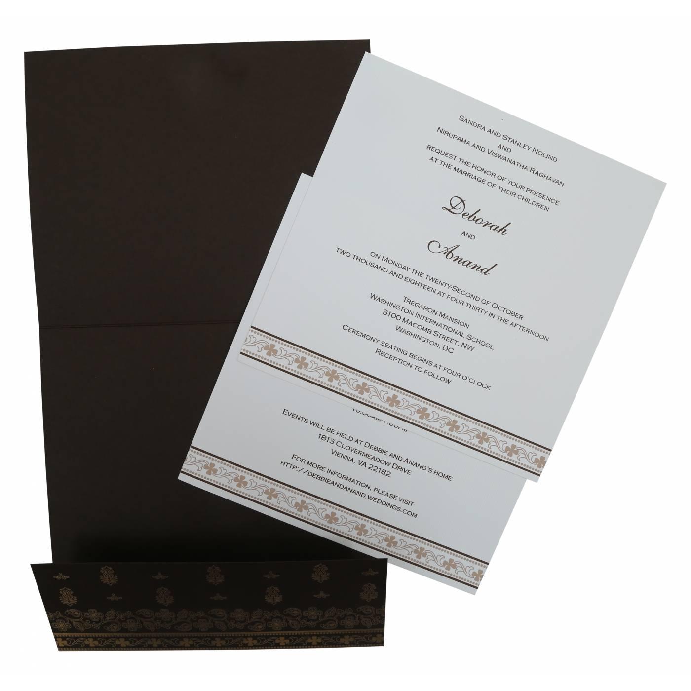 BROWN MATTE SCREEN PRINTED WEDDING INVITATION : CD-808B - IndianWeddingCards