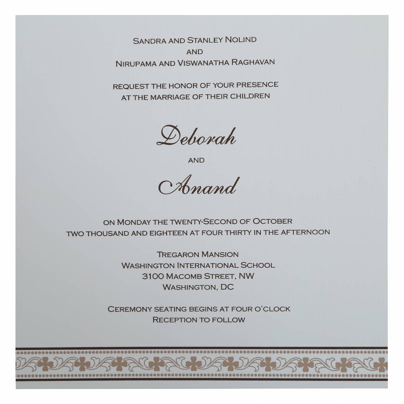 BROWN MATTE SCREEN PRINTED WEDDING INVITATION : CG-808B - IndianWeddingCards