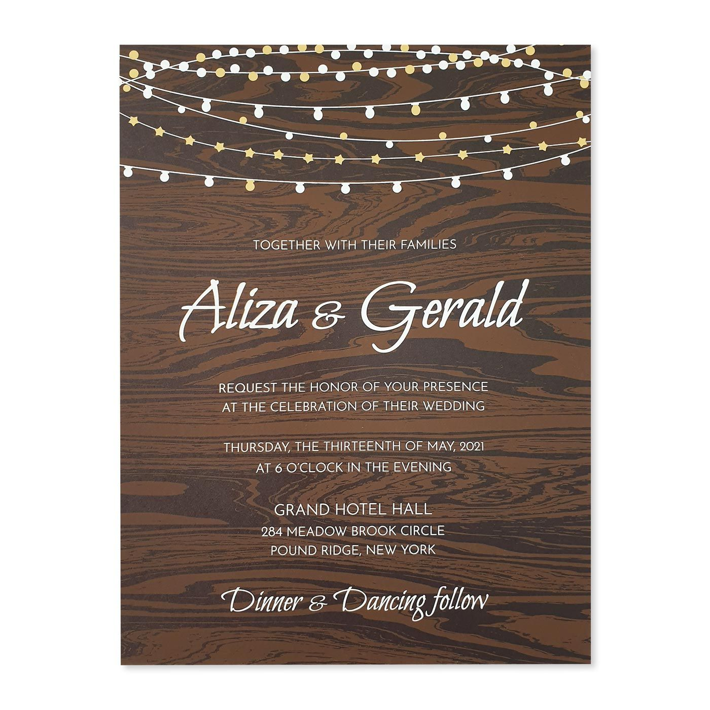 BROWN MATTE SCREEN PRINTED WEDDING INVITATION : C-RUSTIC_STARS - IndianWeddingCards