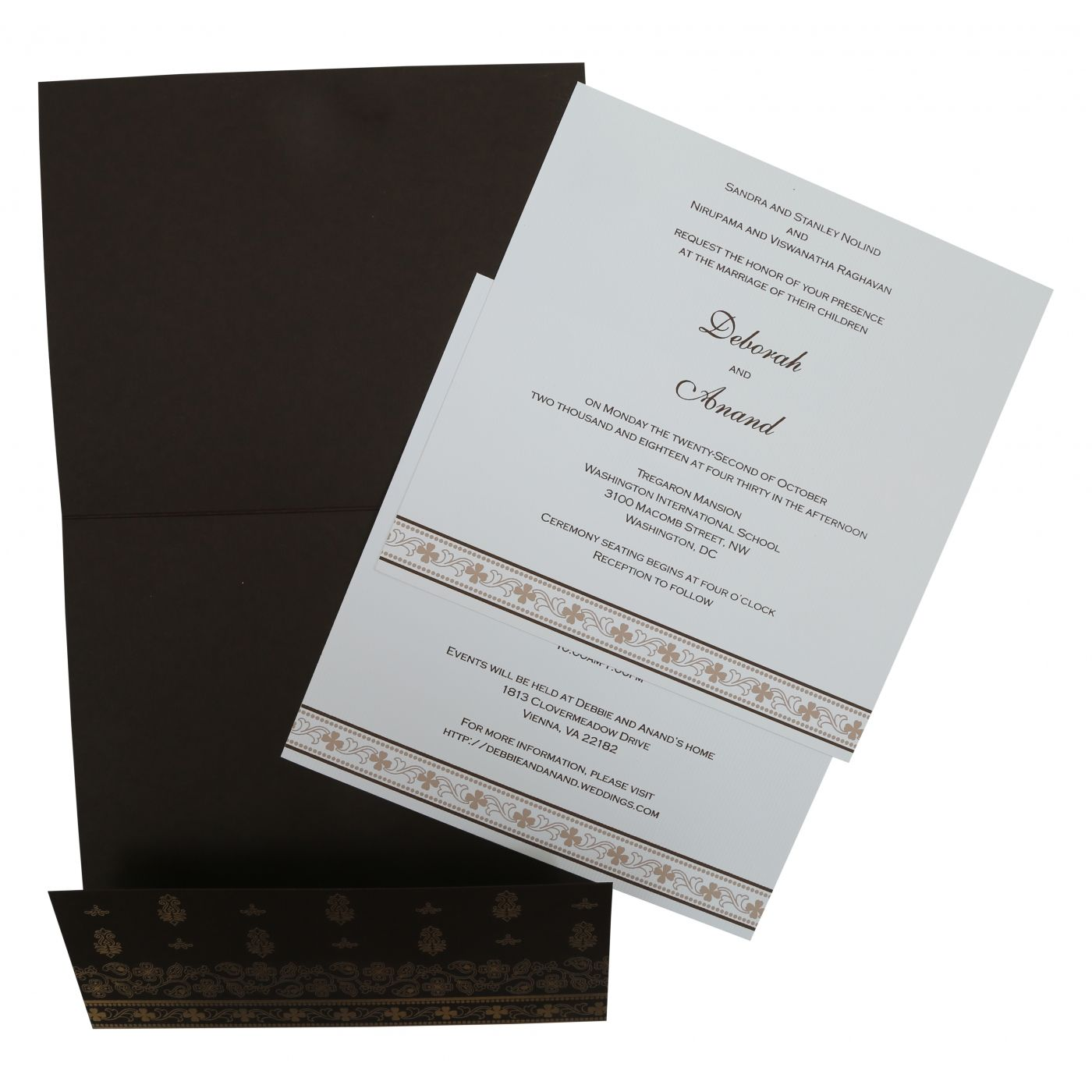BROWN MATTE SCREEN PRINTED WEDDING INVITATION : CSO-808B - IndianWeddingCards