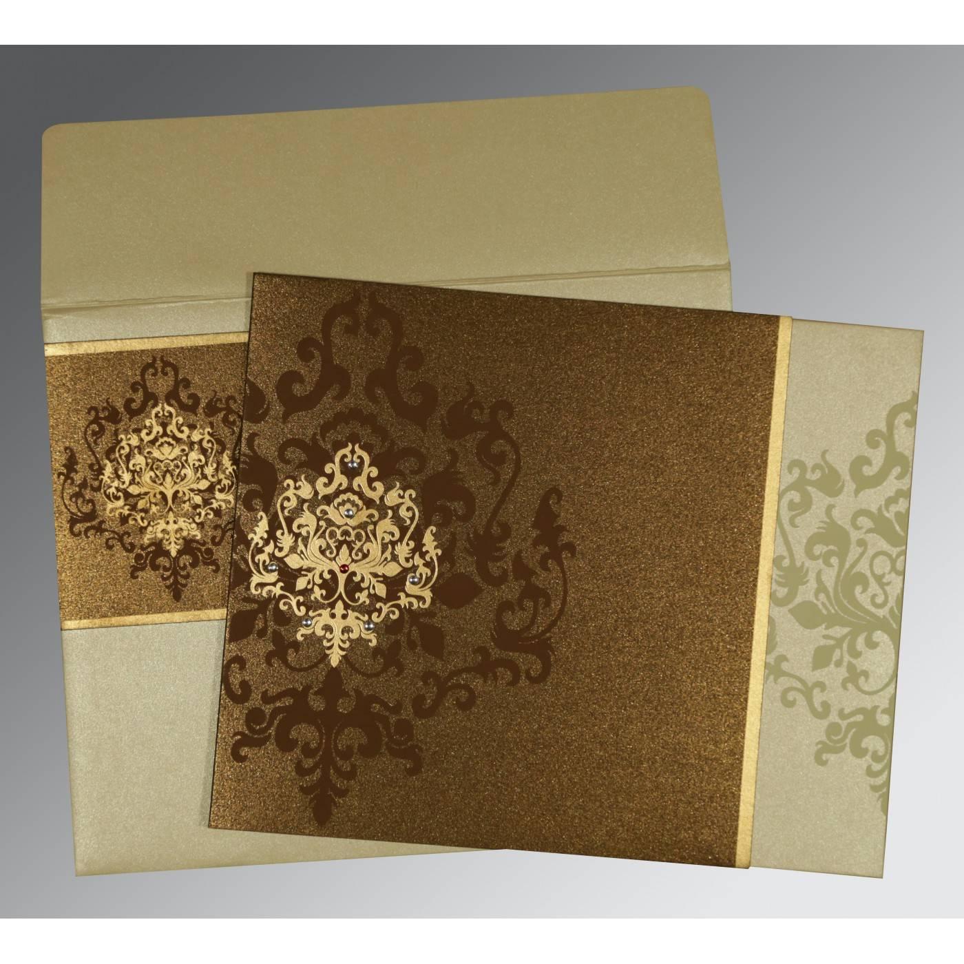BROWN SHIMMERY DAMASK THEMED - SCREEN PRINTED WEDDING CARD : CG-8253A - IndianWeddingCards