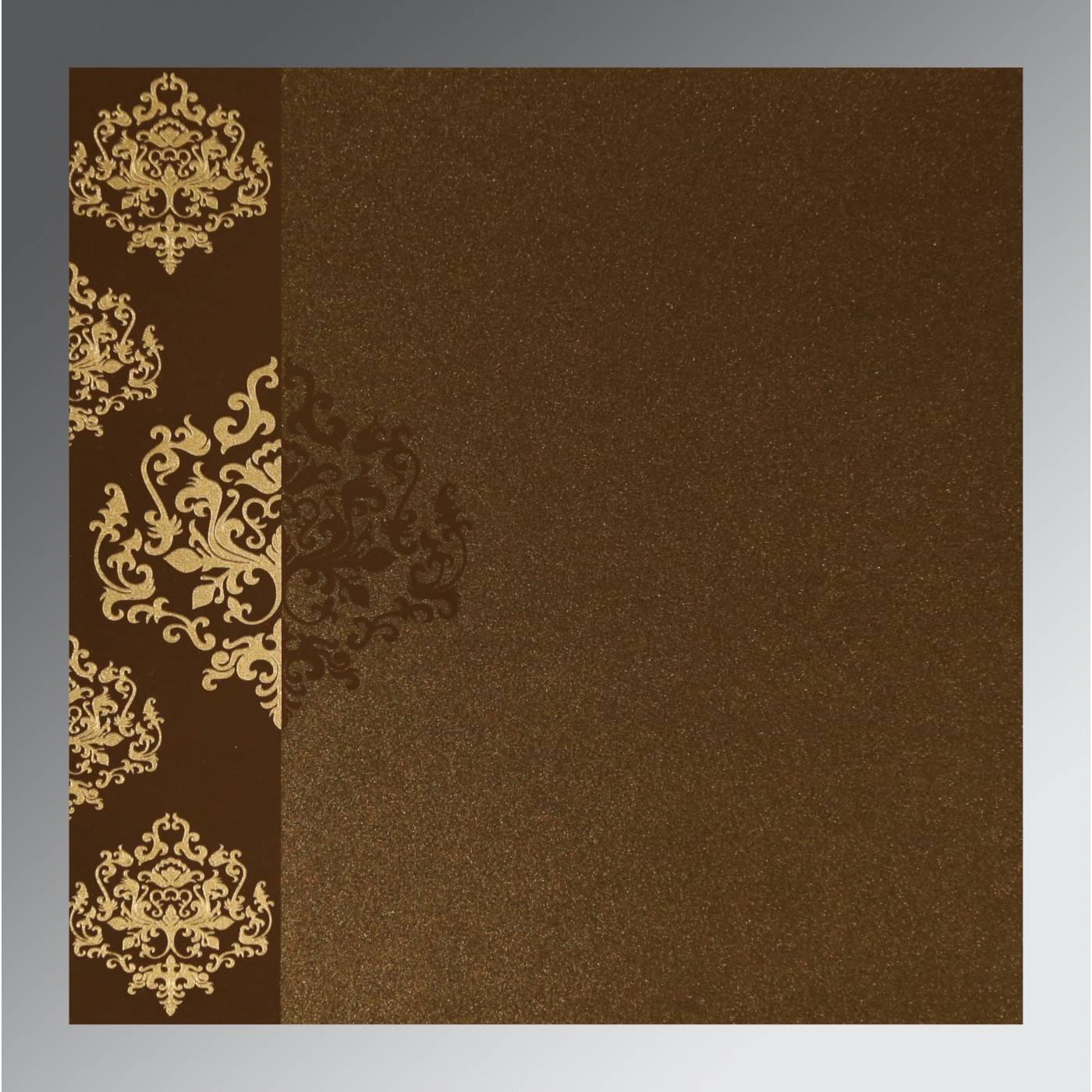 BROWN SHIMMERY DAMASK THEMED - SCREEN PRINTED WEDDING CARD : CIN-8254F - IndianWeddingCards