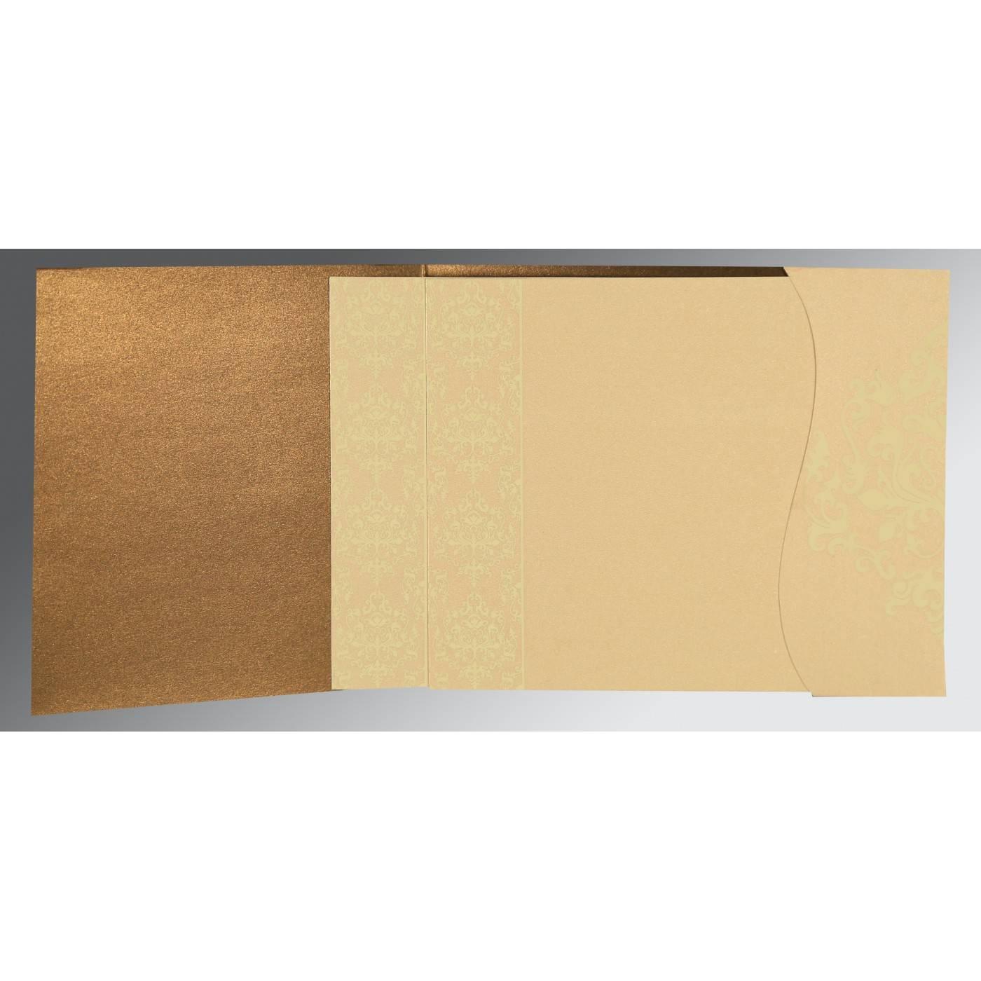 BROWN SHIMMERY DAMASK THEMED - SCREEN PRINTED WEDDING CARD : CRU-8253A - IndianWeddingCards