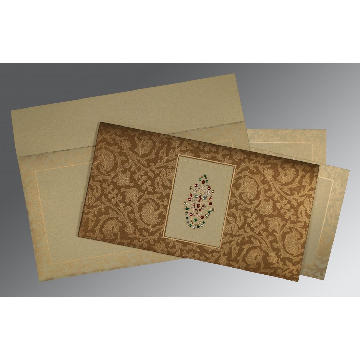 BROWN CREAM SHIMMERY EMBOSSED WEDDING INVITATION : CW-1426 - IndianWeddingCards