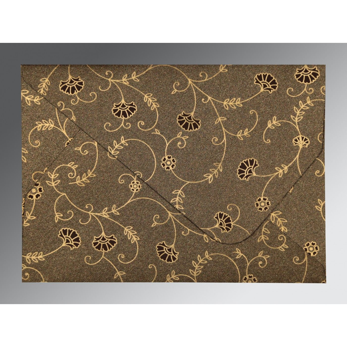 BROWN SHIMMERY FLORAL THEMED - SCREEN PRINTED WEDDING INVITATION : CI-8248C - IndianWeddingCards