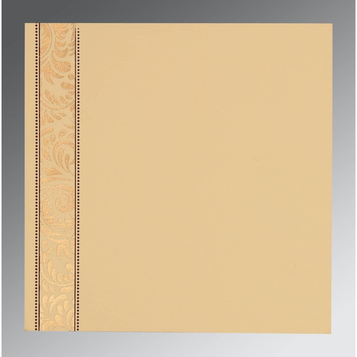 DARK BROWN SHIMMERY FLORAL THEMED - SCREEN PRINTED WEDDING CARD : CSO-8235K - IndianWeddingCards
