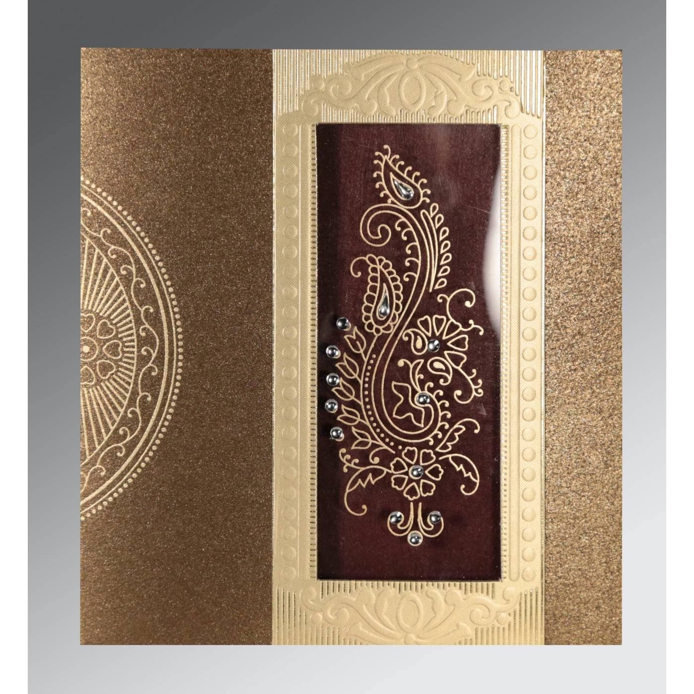 TURFTAN SHIMMERY PAISLEY THEMED - FOIL STAMPED WEDDING INVITATION : CRU-8230M - IndianWeddingCards