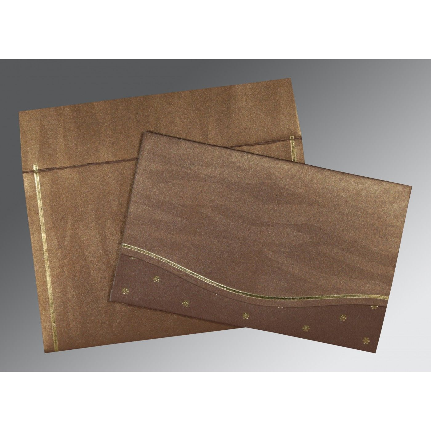LIGHT BROWN SHIMMERY POCKET THEMED - FOIL STAMPED WEDDING CARD : CW-1413 - IndianWeddingCards