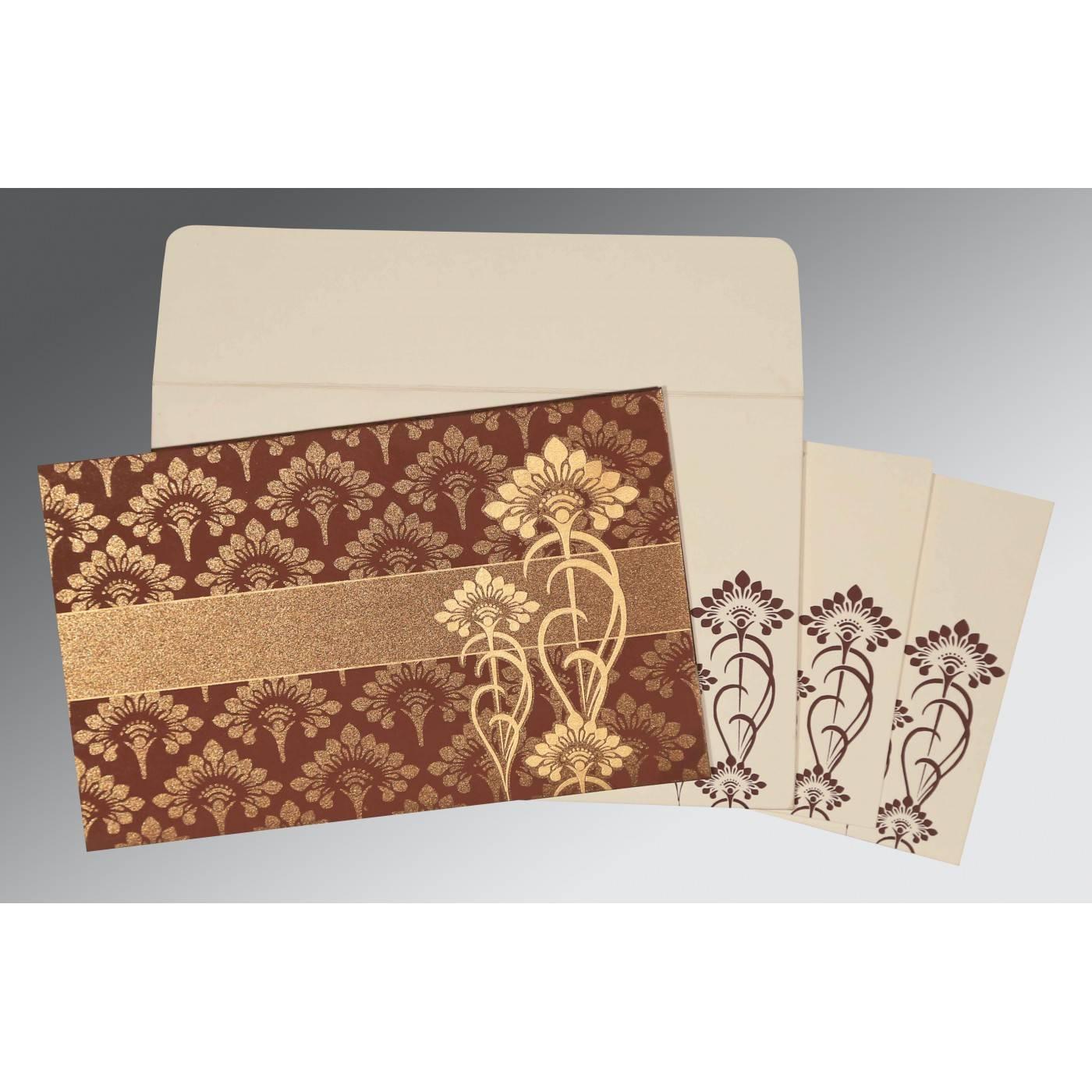 MOCHA SHIMMERY SCREEN PRINTED WEDDING CARD : D-8239C - 123WeddingCards