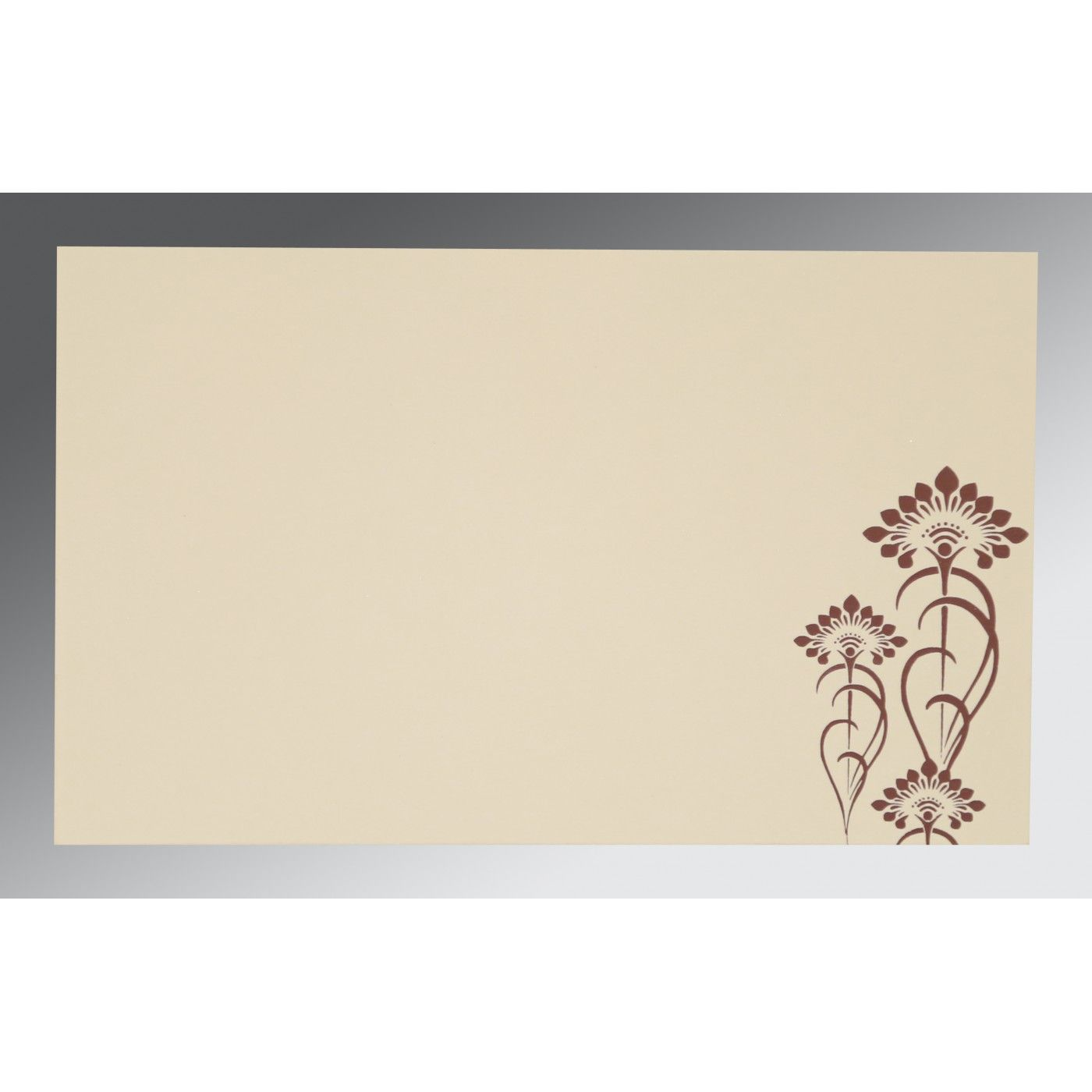 MOCHA SHIMMERY SCREEN PRINTED WEDDING CARD : CI-8239C - IndianWeddingCards