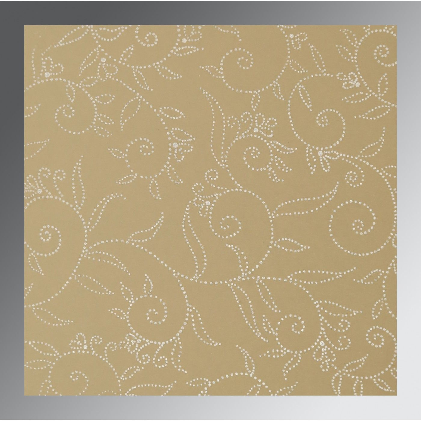 BEIGE BROWN SHIMMERY SCREEN PRINTED WEDDING INVITATION : CW-1447 - IndianWeddingCards