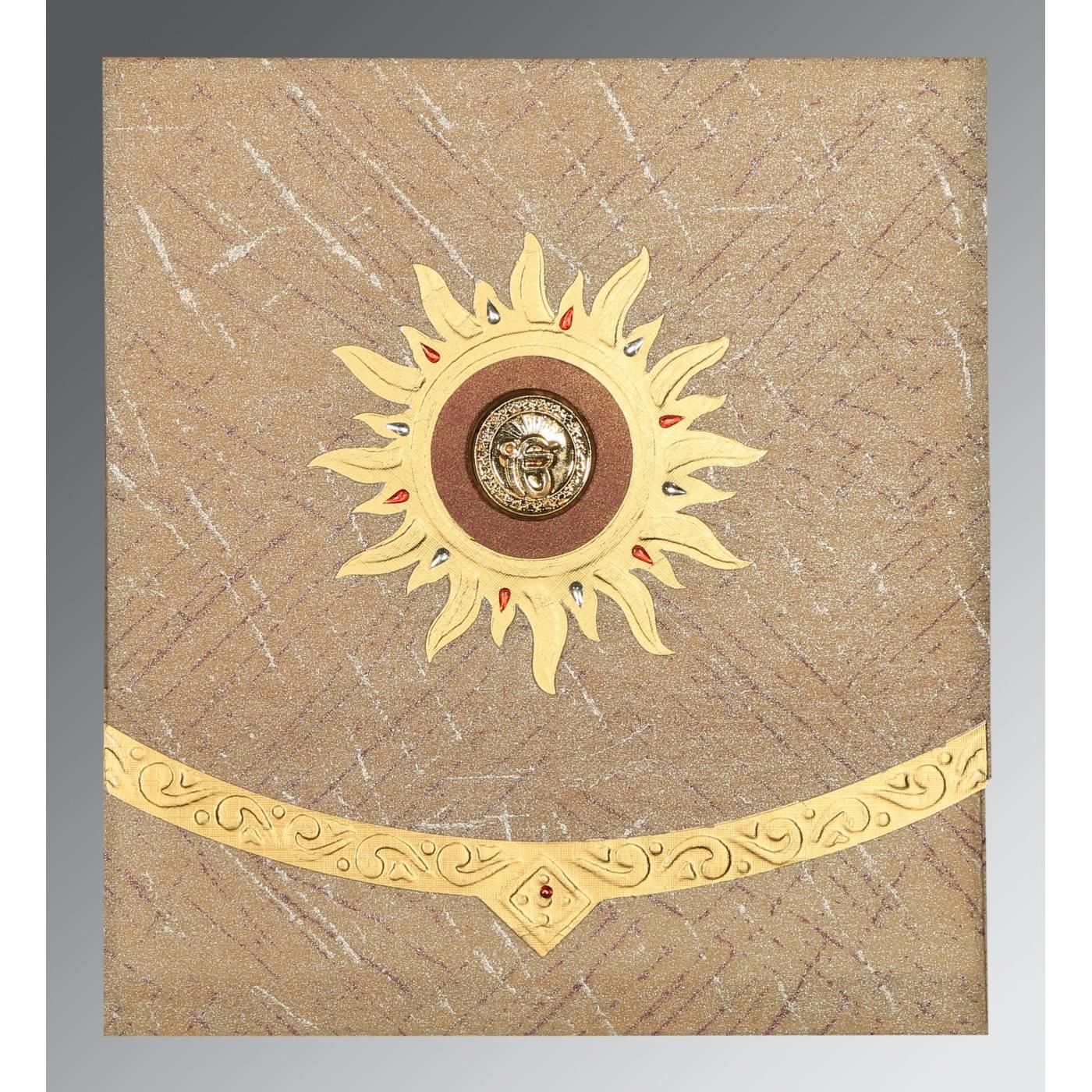 DESERT SAND WOOLY EMBOSSED WEDDING CARD : CS-1225 - IndianWeddingCards