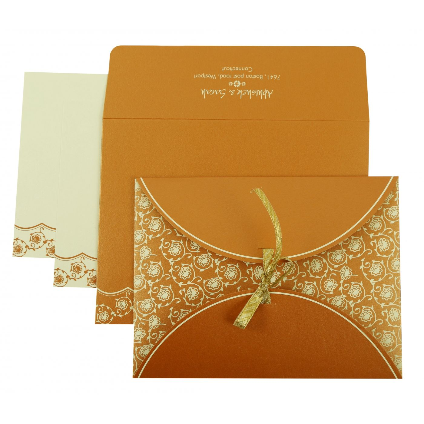 COPPER SHIMMERY BUTTERFLY THEMED - SCREEN PRINTED WEDDING INVITATION : CD-821C - IndianWeddingCards