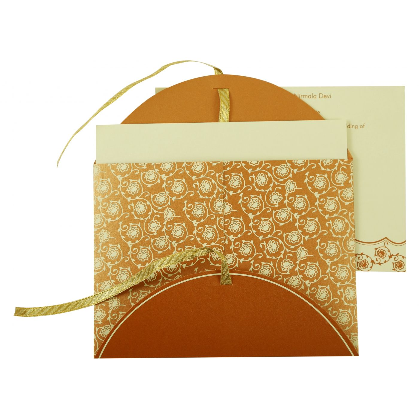 COPPER SHIMMERY BUTTERFLY THEMED - SCREEN PRINTED WEDDING INVITATION : CI-821C - IndianWeddingCards