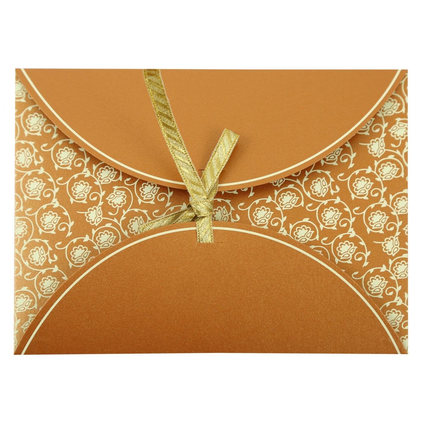 COPPER SHIMMERY BUTTERFLY THEMED - SCREEN PRINTED WEDDING INVITATION : CW-821C - IndianWeddingCards