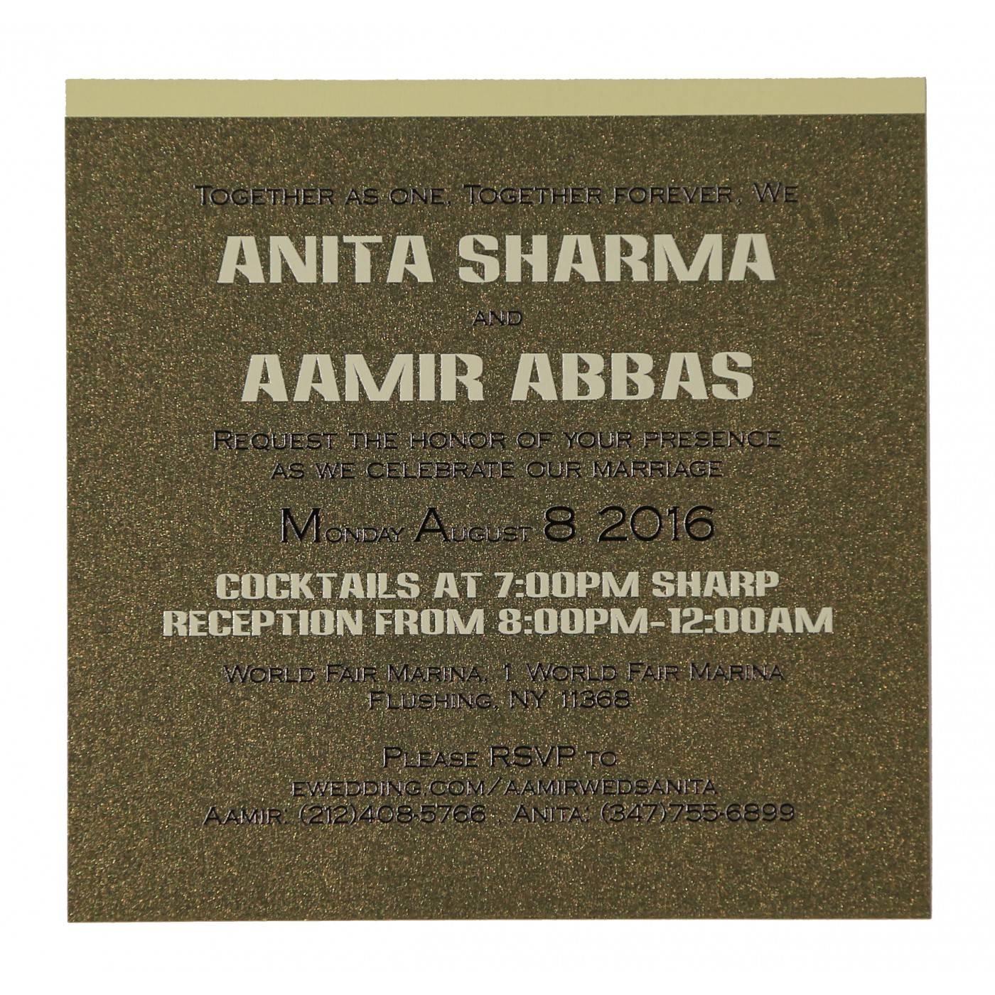 CREAM SHIMMERY LASER CUT WEDDING CARD : CRU-1595 - IndianWeddingCards