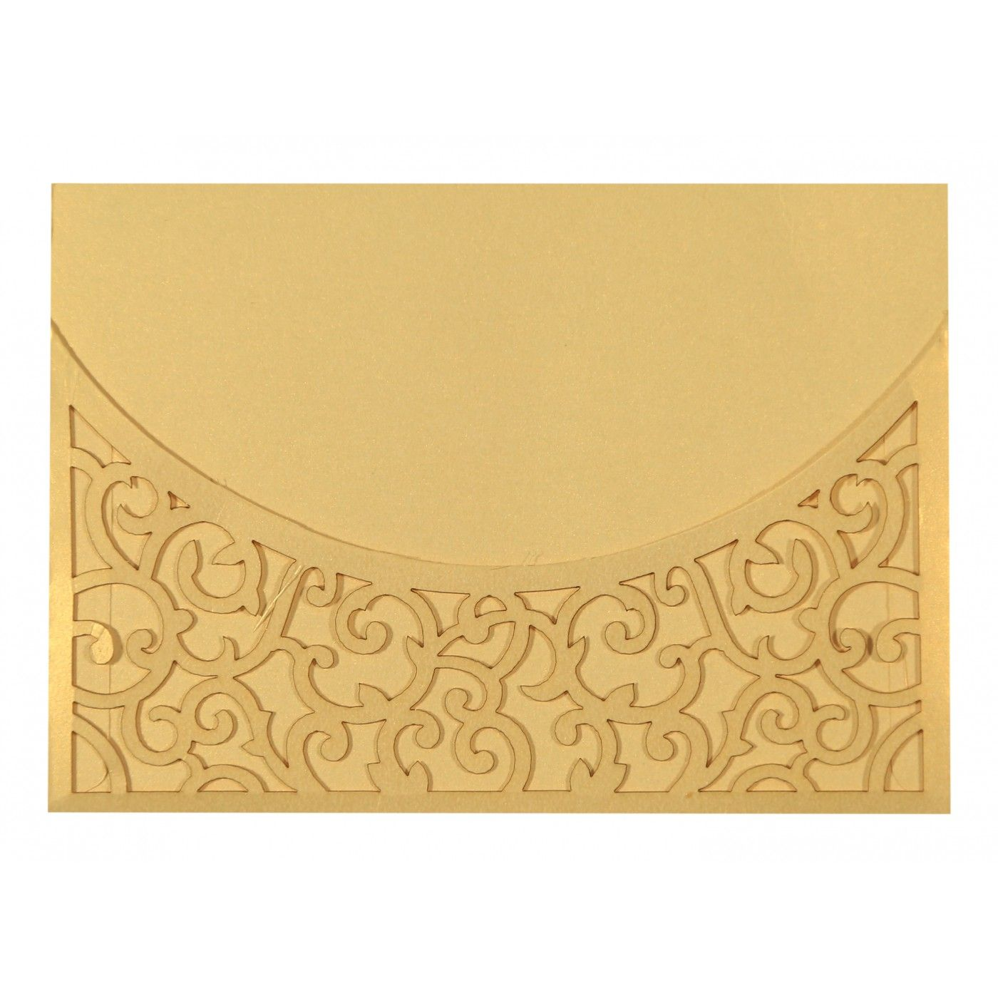 CREAM SHIMMERY LASER CUT WEDDING CARD : CS-1587 - IndianWeddingCards