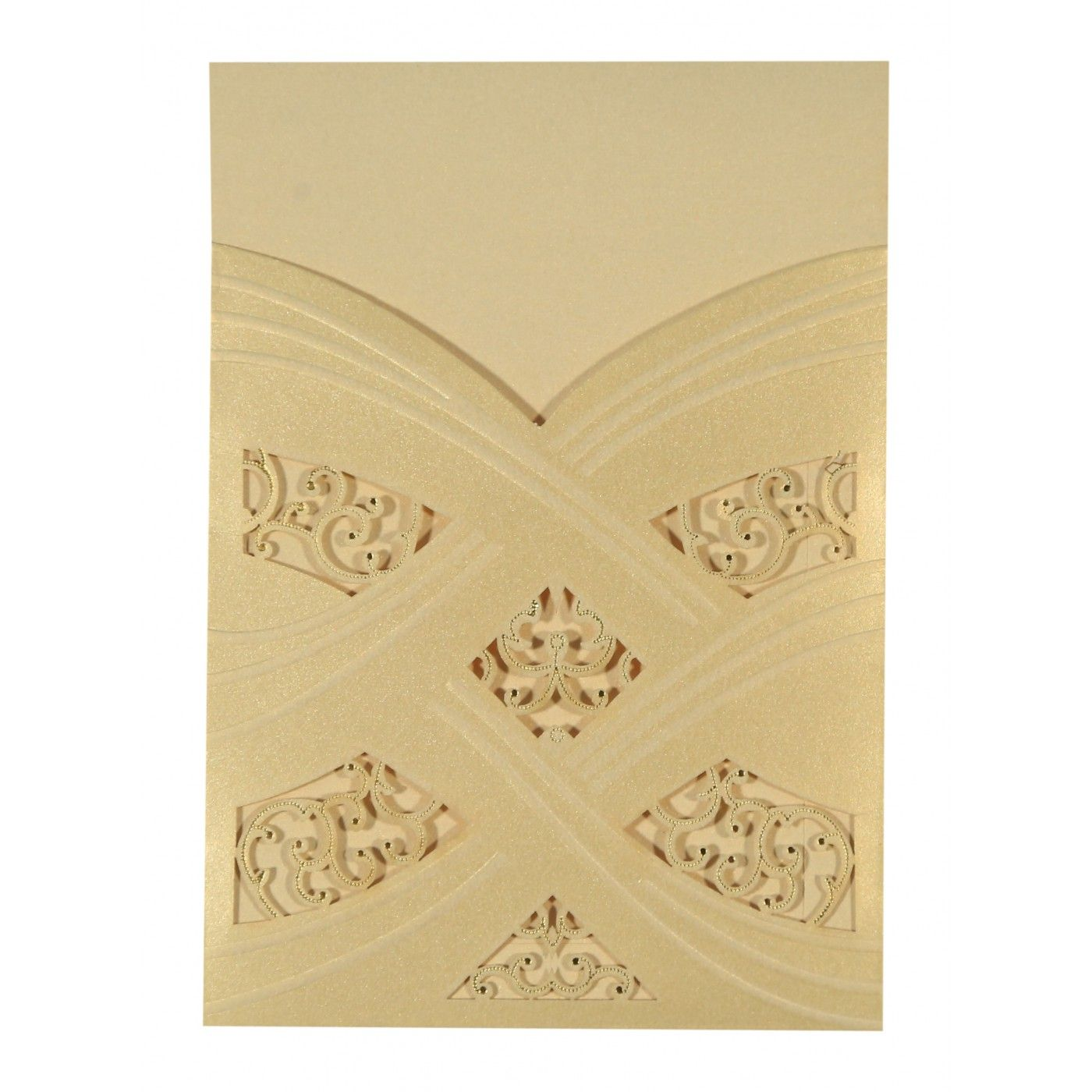 CREAM SHIMMERY LASER CUT WEDDING CARD : CW-1591 - IndianWeddingCards
