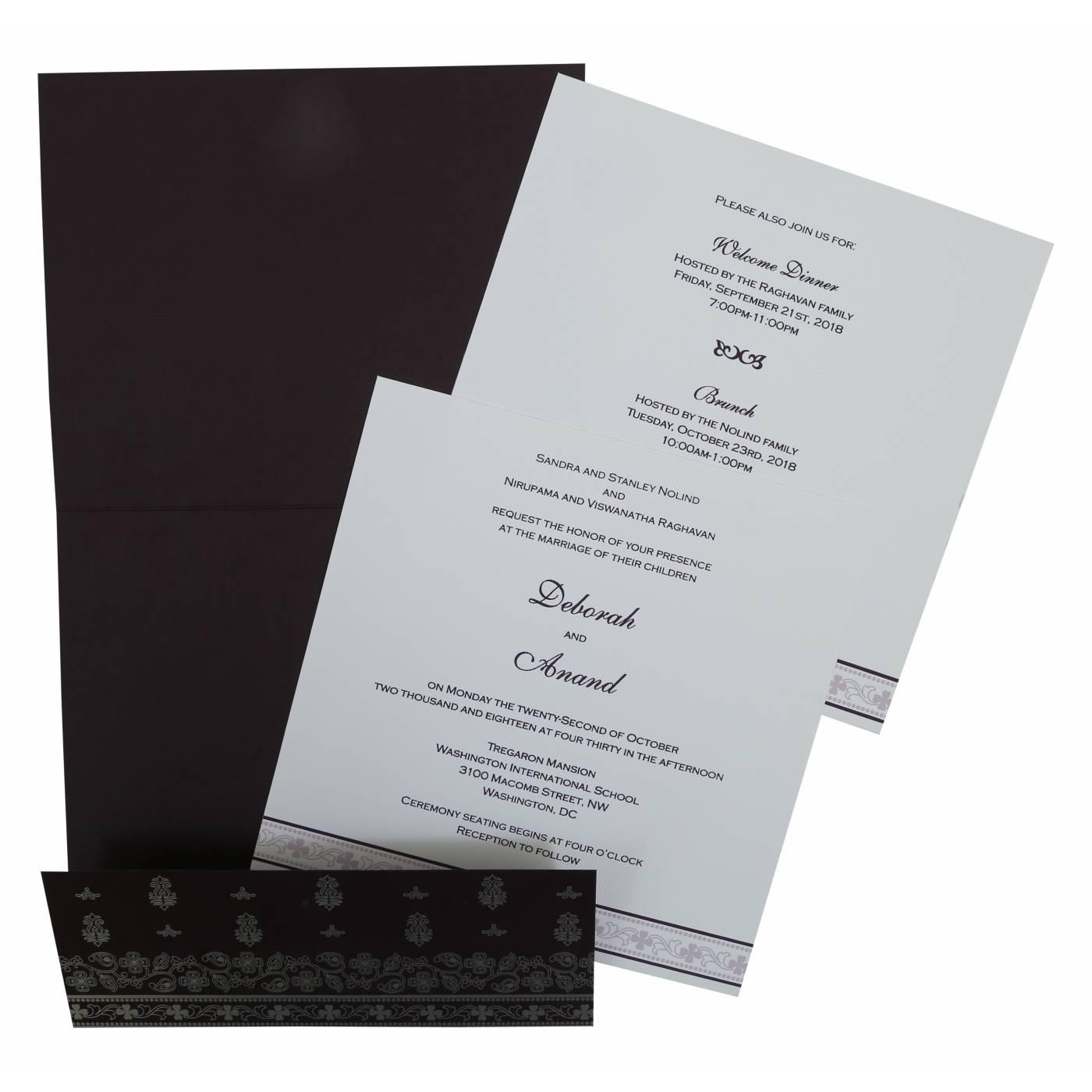 EGGPLANT MATTE SCREEN PRINTED WEDDING INVITATION : CG-808C - IndianWeddingCards