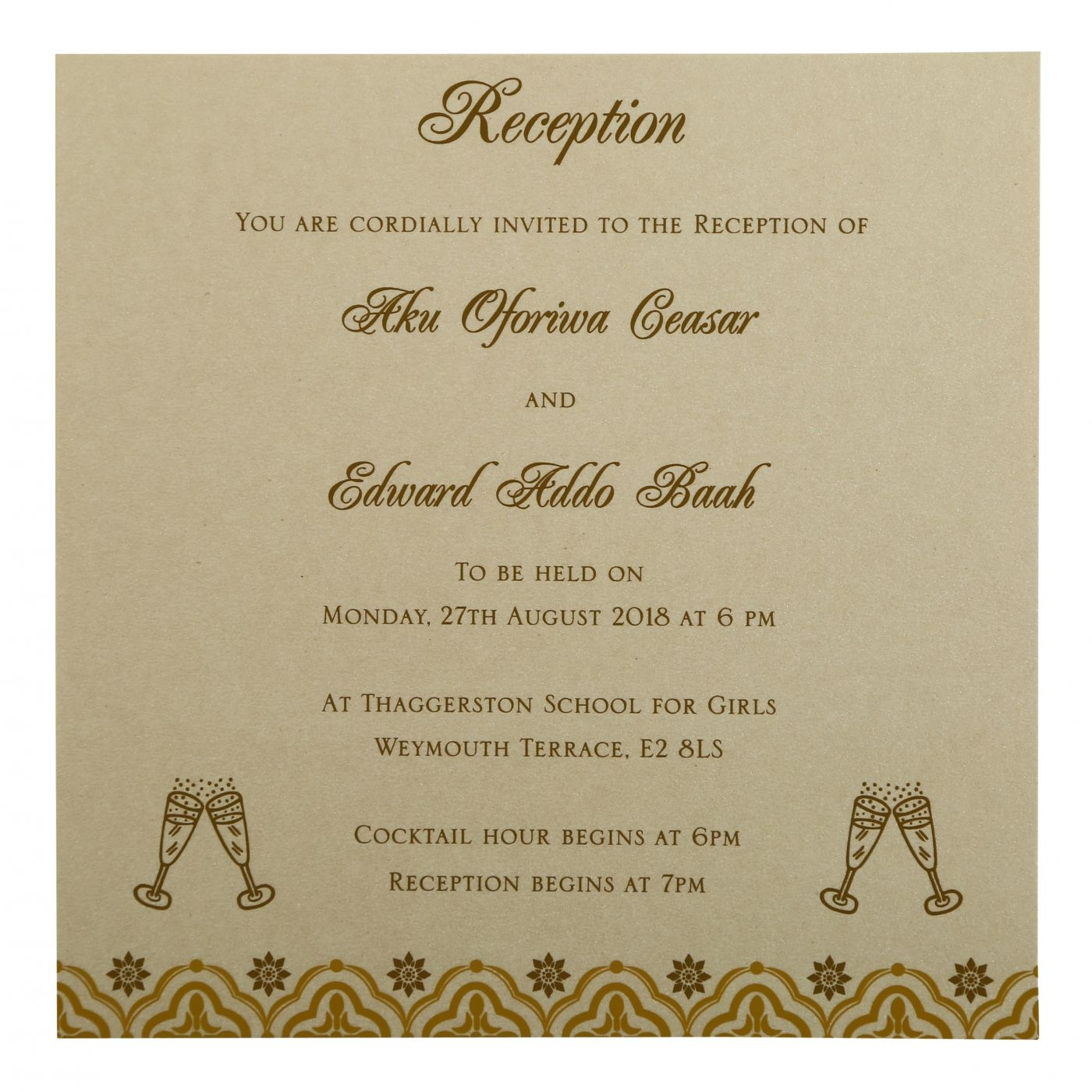 GOLD SHIMMERY SCREEN PRINTED WEDDING INVITATION : CSO-805B - IndianWeddingCards
