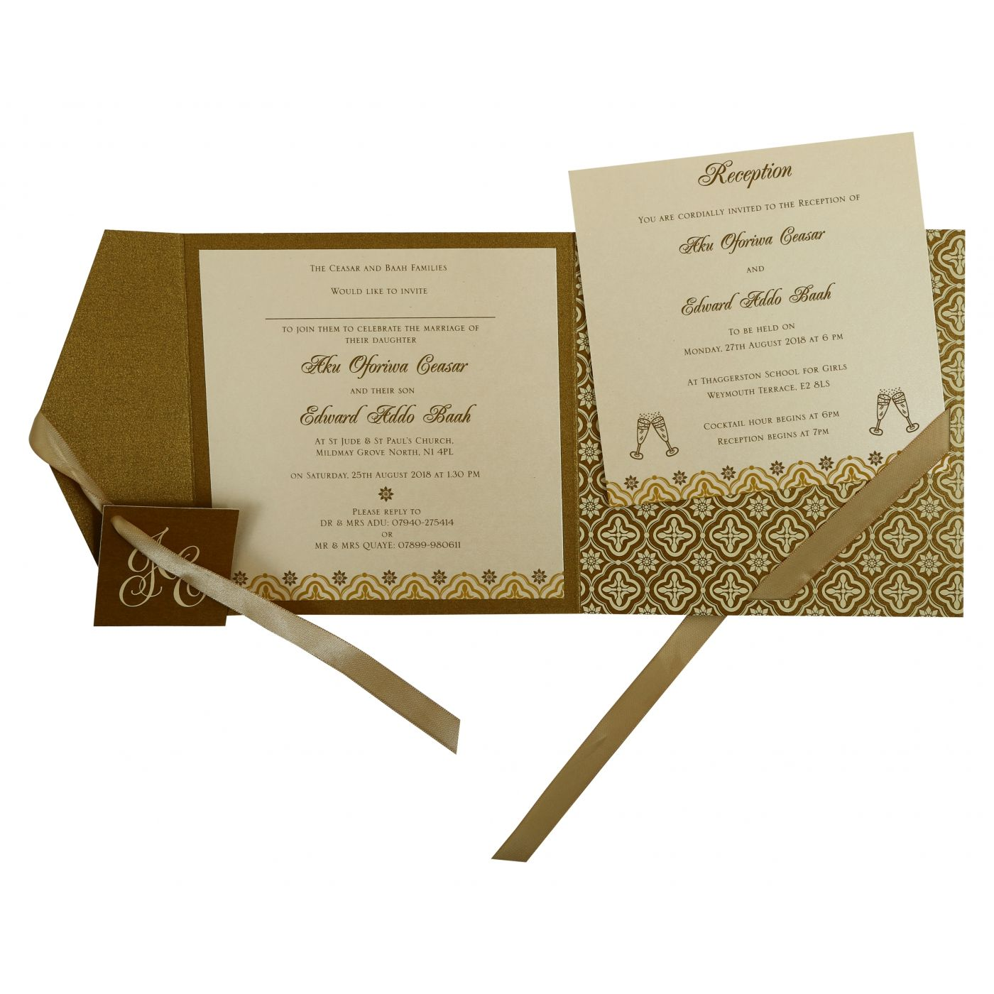 GOLD SHIMMERY SCREEN PRINTED WEDDING INVITATION : CW-805B - IndianWeddingCards