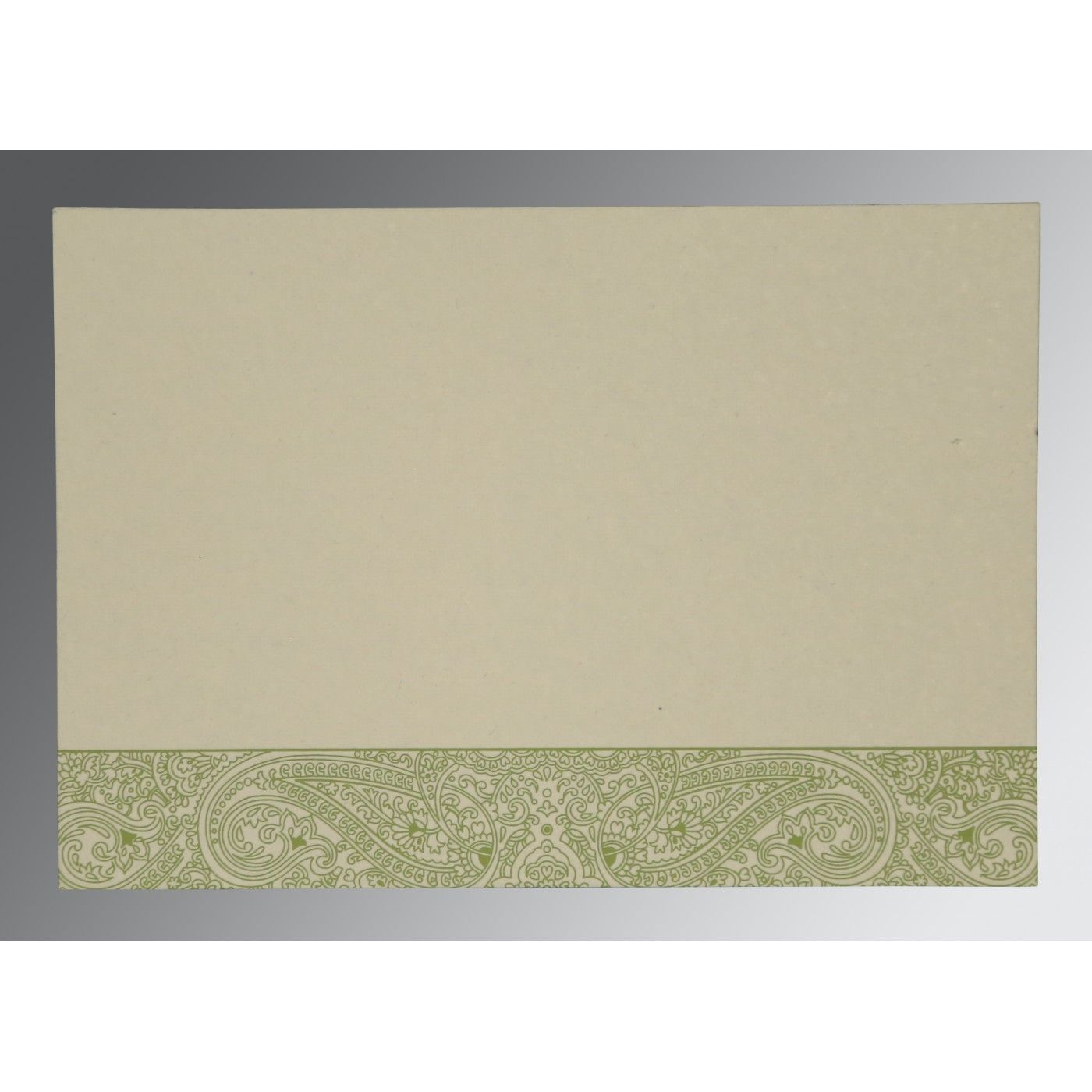 DARK OLIVE GREEN HANDMADE COTTON EMBOSSED WEDDING CARD : CD-8234C - IndianWeddingCards