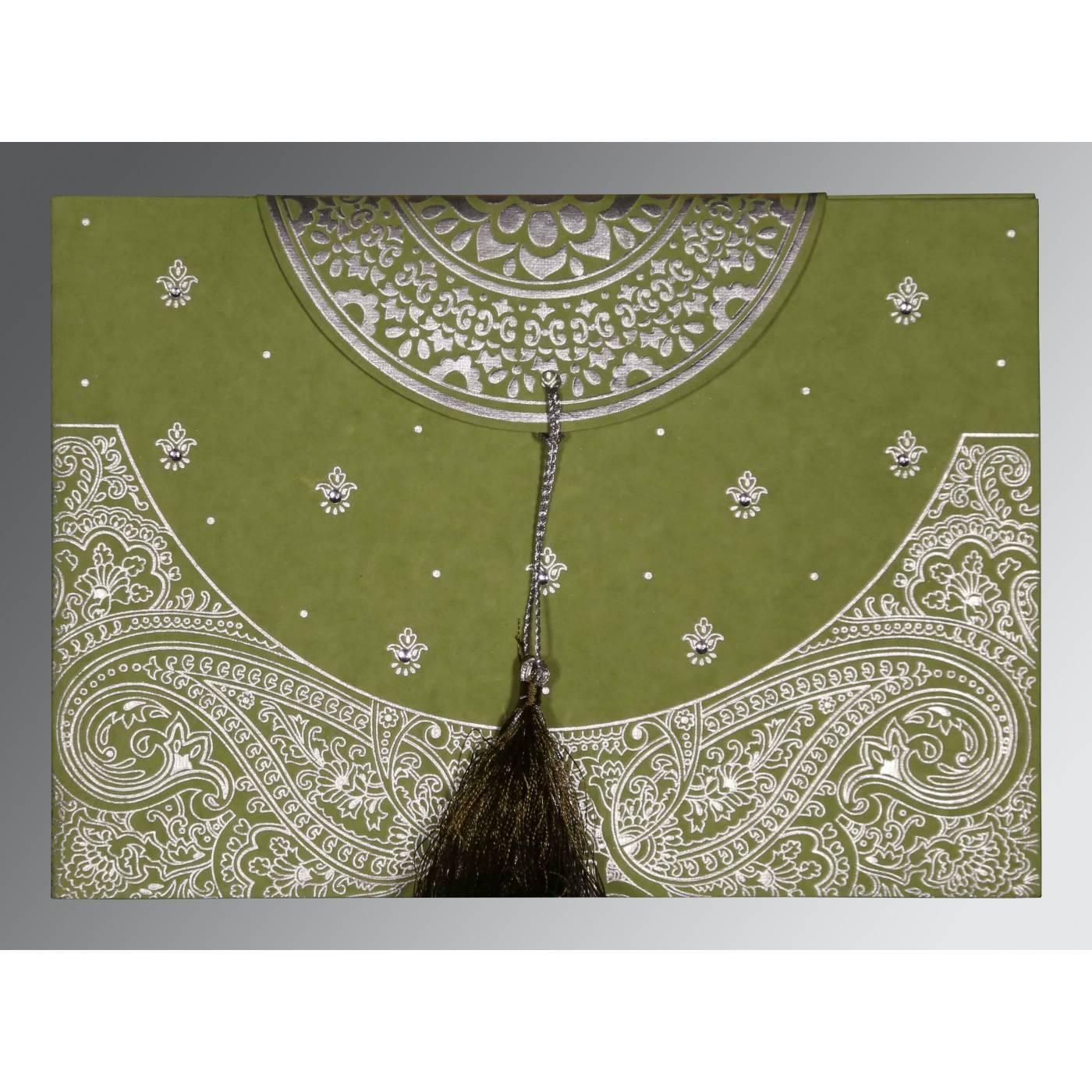 DARK OLIVE GREEN HANDMADE COTTON EMBOSSED WEDDING CARD : CG-8234C - IndianWeddingCards