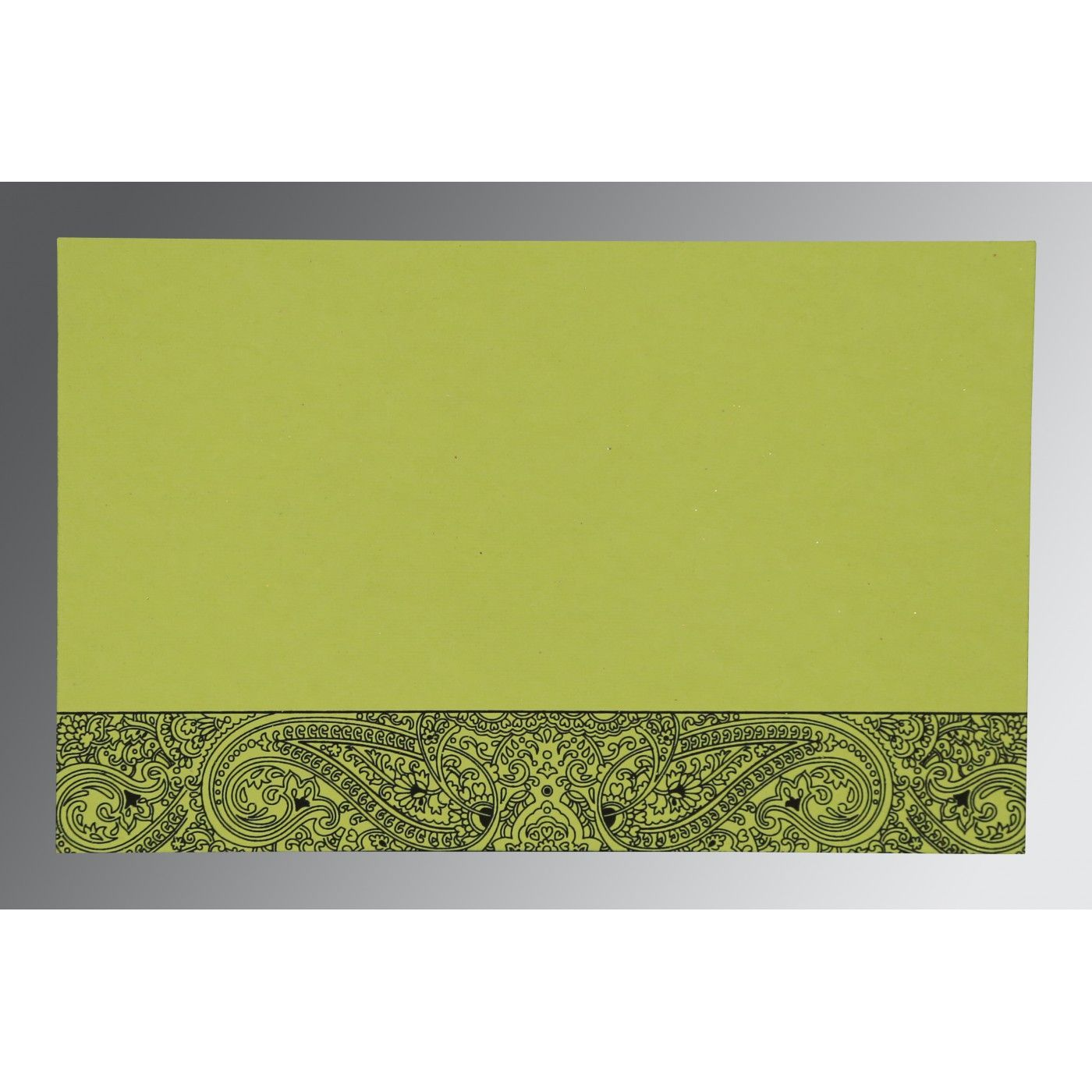 PARROT GREEN HANDMADE COTTON EMBOSSED WEDDING CARD : CI-8234H - IndianWeddingCards