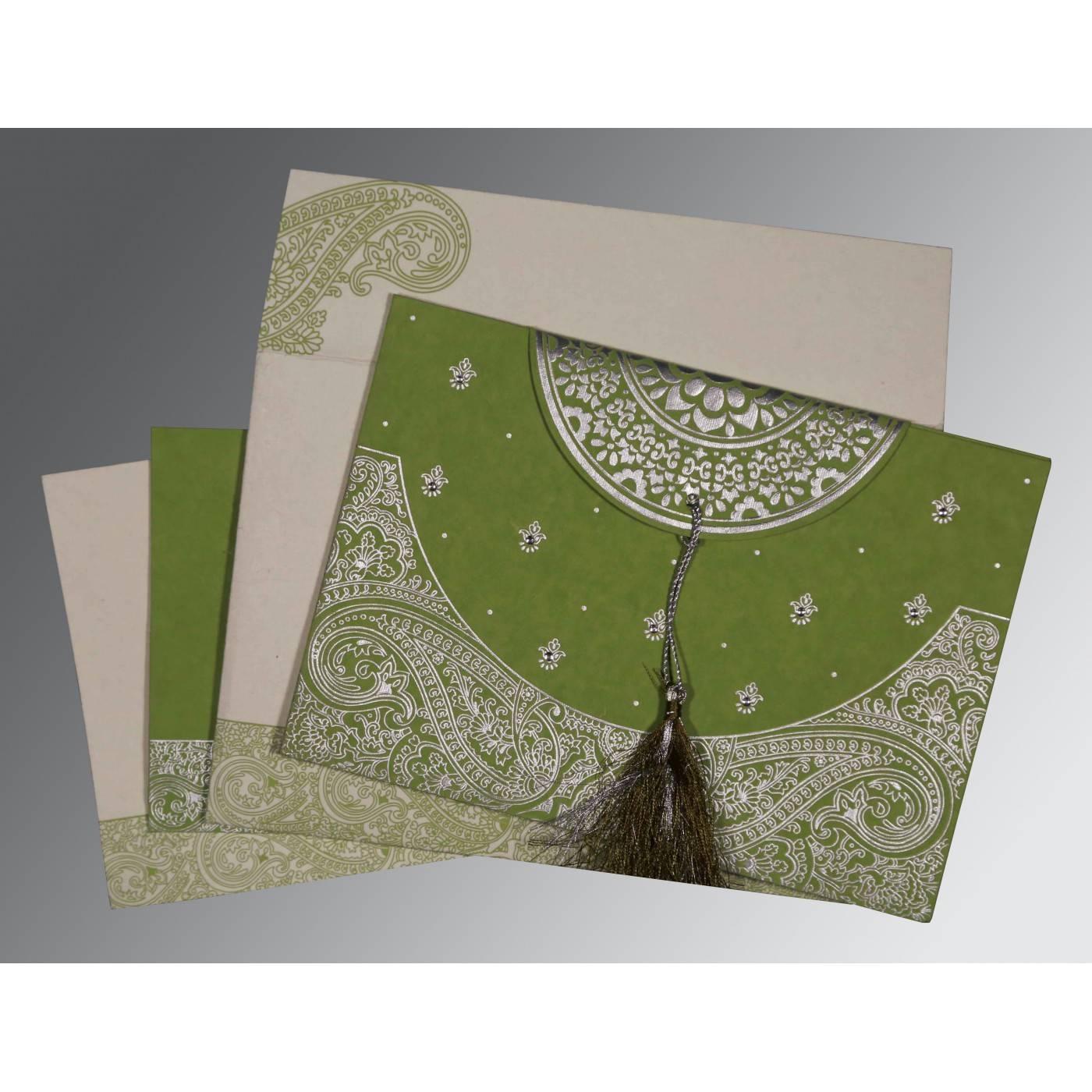 DARK OLIVE GREEN HANDMADE COTTON EMBOSSED WEDDING CARD : IN-8234C - 123WeddingCards