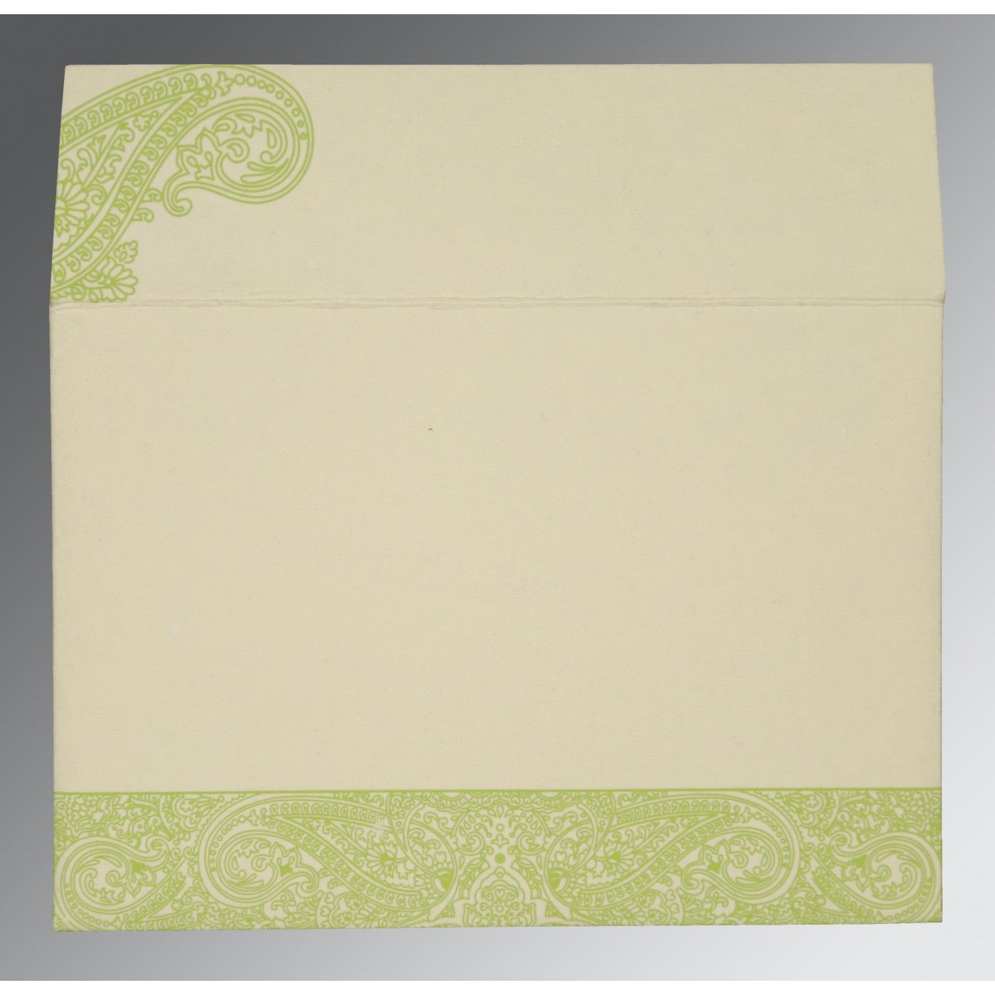 PARROT GREEN HANDMADE COTTON EMBOSSED WEDDING CARD : CRU-8234H - IndianWeddingCards