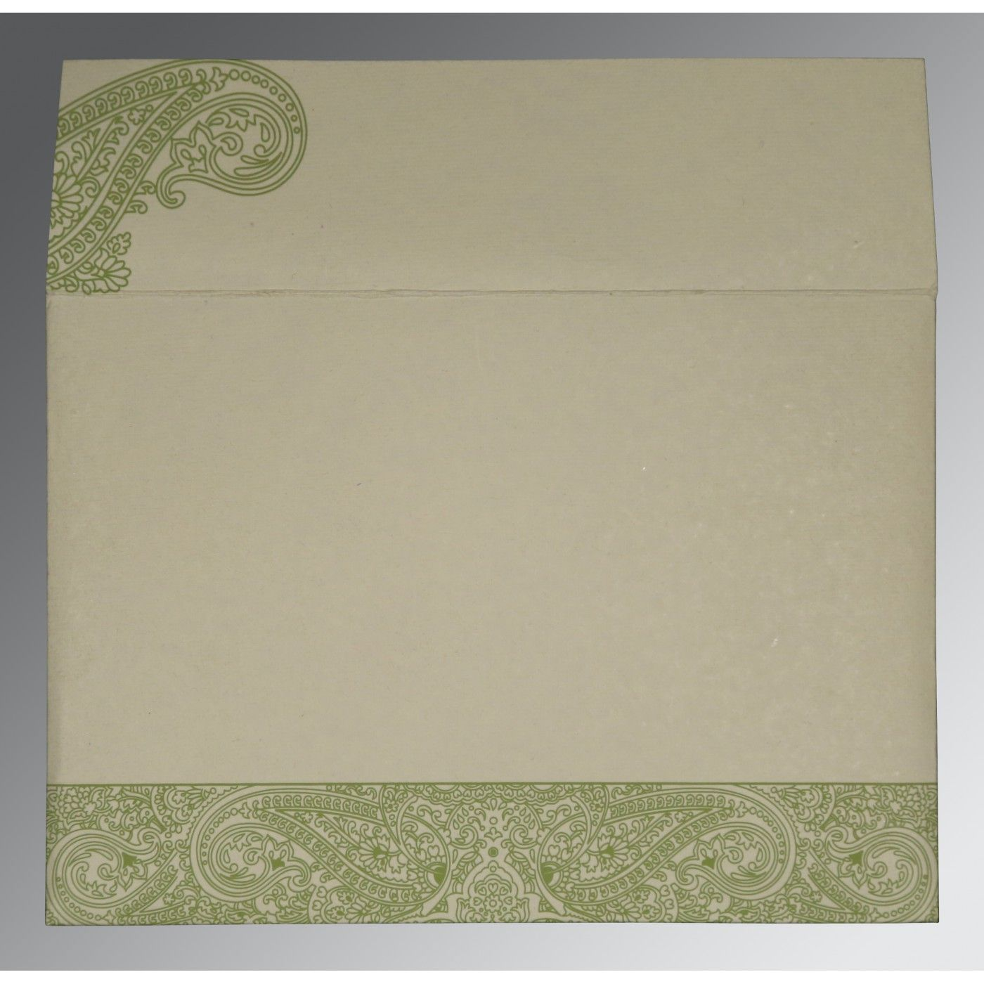 DARK OLIVE GREEN HANDMADE COTTON EMBOSSED WEDDING CARD : CSO-8234C - IndianWeddingCards