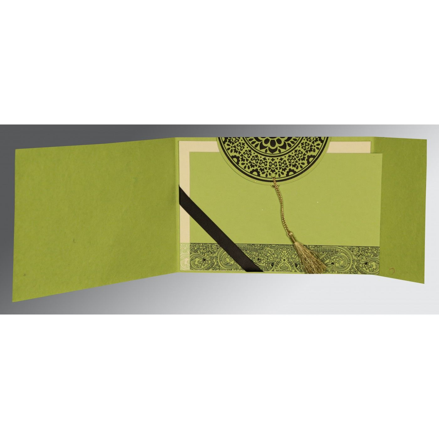 PARROT GREEN HANDMADE COTTON EMBOSSED WEDDING CARD : CW-8234H - IndianWeddingCards
