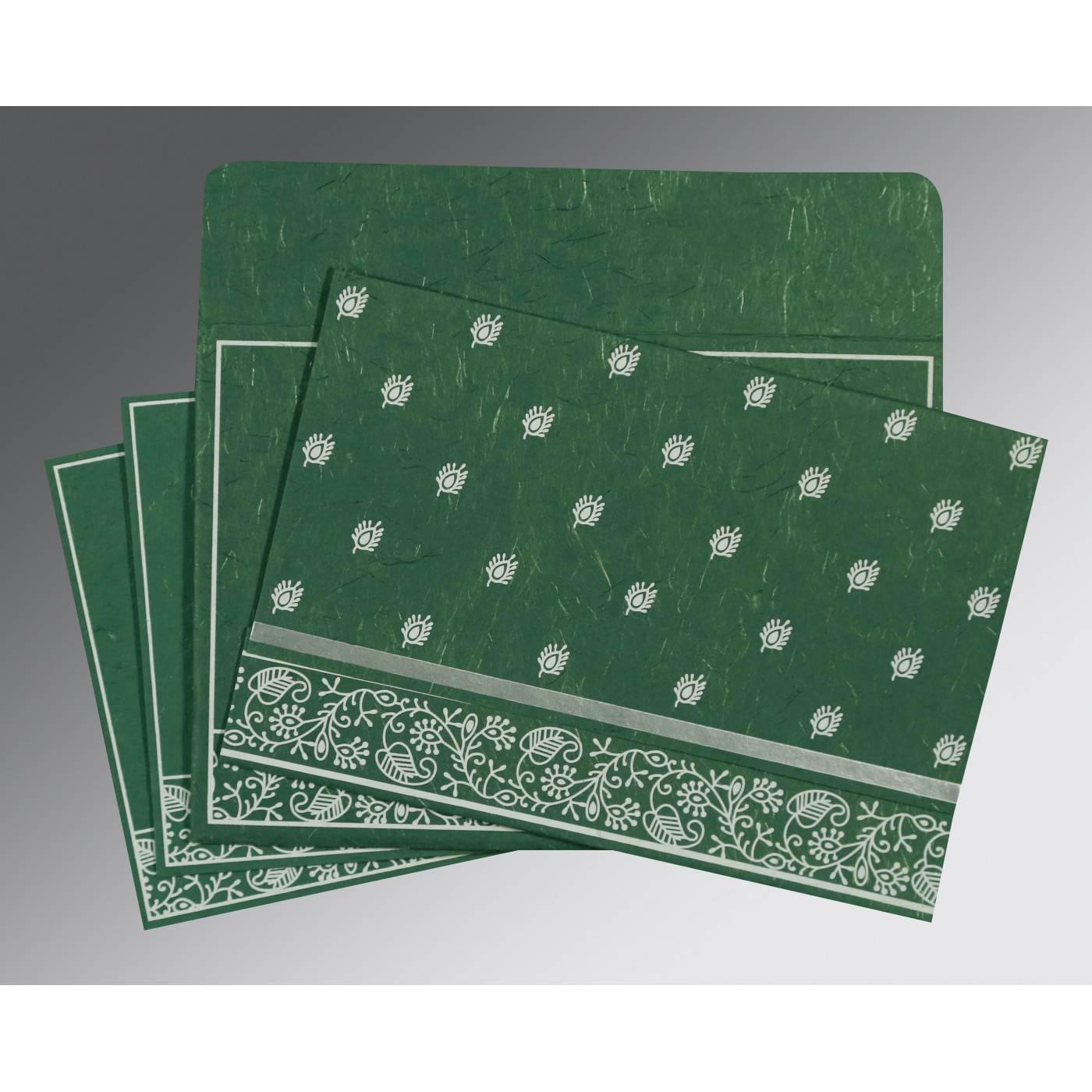 DARK GREEN HANDMADE SILK SCREEN PRINTED WEDDING CARD : CRU-8215E - IndianWeddingCards