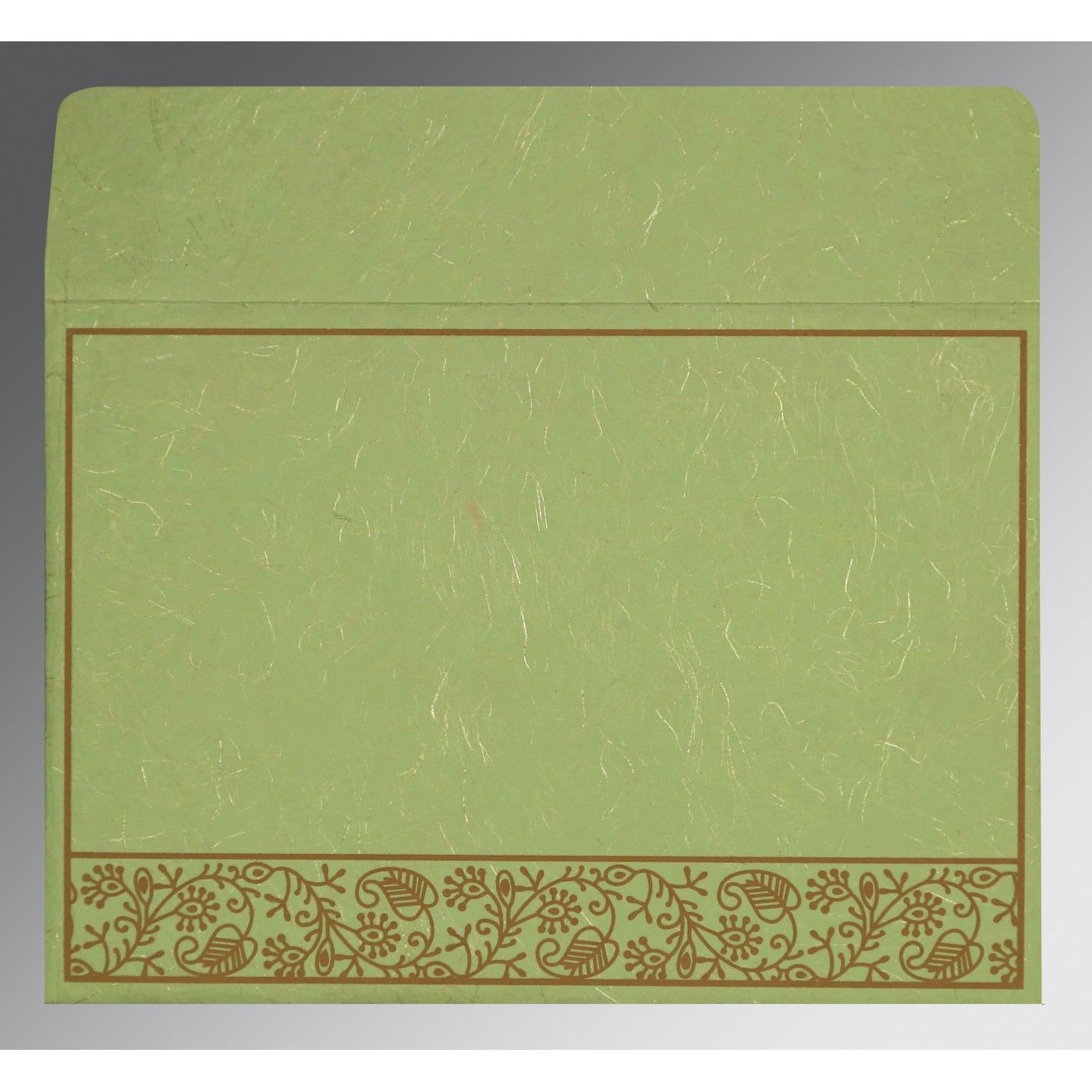 PARROT GREEN HANDMADE SILK SCREEN PRINTED WEDDING CARD : CS-8215D - IndianWeddingCards