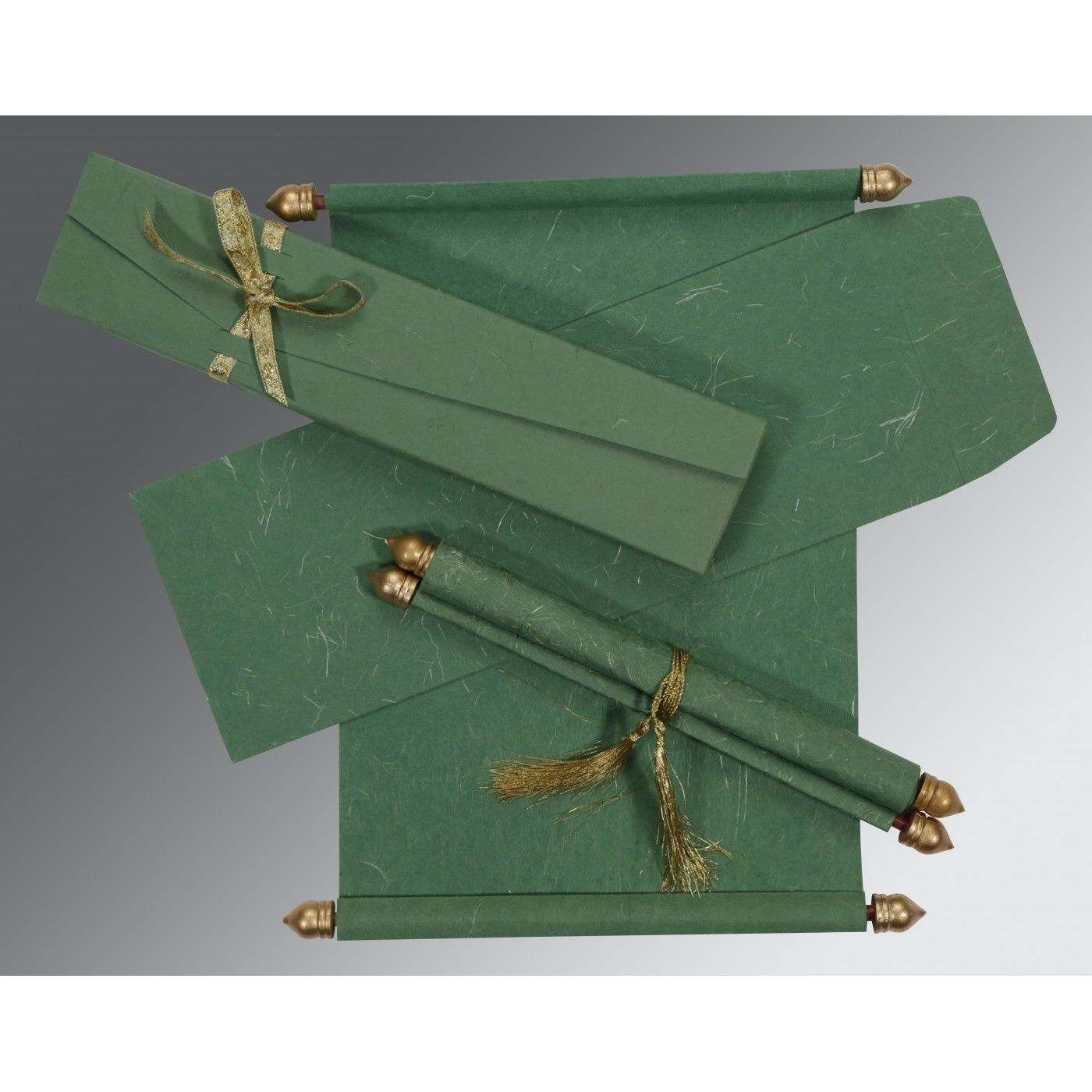 GREEN HANDMADE SILK WEDDING CARD : CSC-5001D - IndianWeddingCards