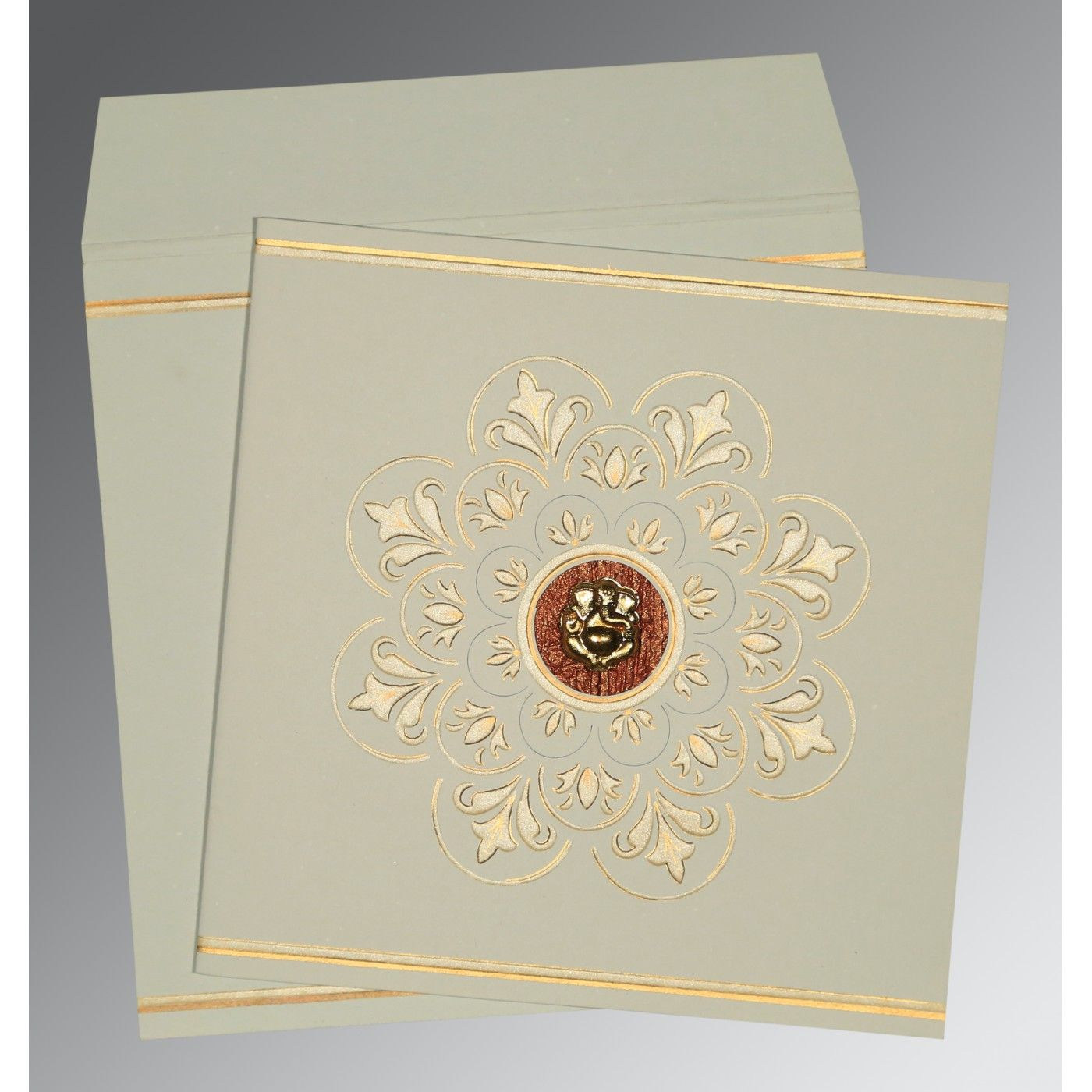 OFF-WHITE MATTE BOX THEMED - EMBOSSED WEDDING CARD : CW-1190 - IndianWeddingCards