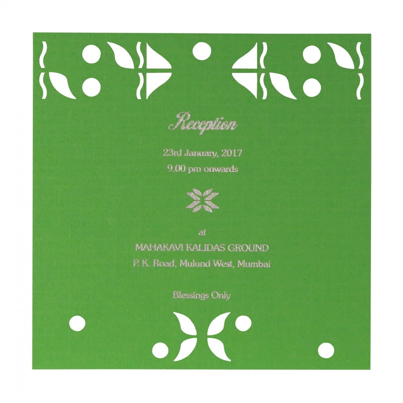 PARROT GREEN MATTE EMBOSSED WEDDING INVITATION : CG-8260B - IndianWeddingCards