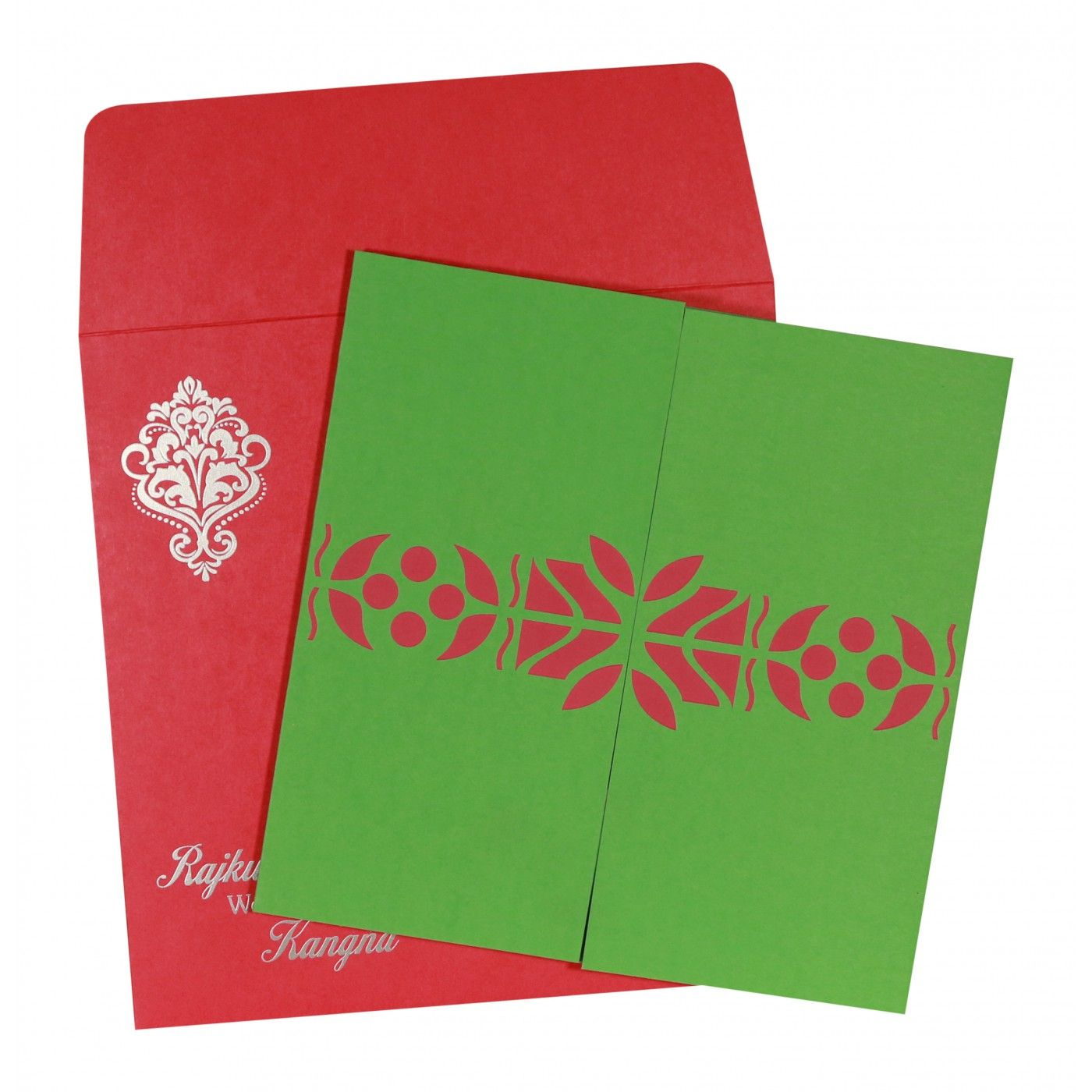 PARROT GREEN MATTE EMBOSSED WEDDING INVITATION : CIN-8260B - IndianWeddingCards