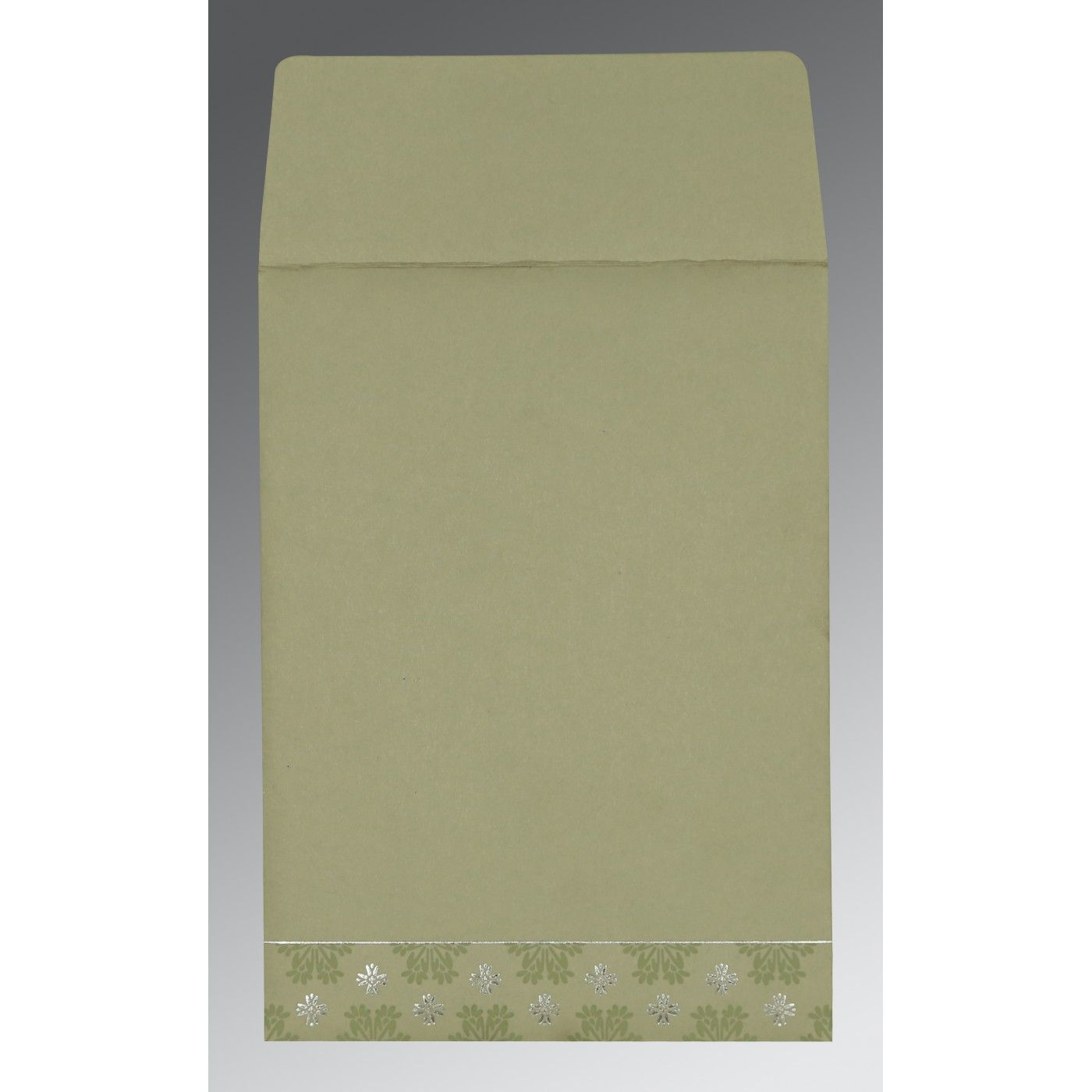 SAGE GREEN MATTE FLORAL THEMED - FOIL STAMPED WEDDING INVITATION : CIN-8237I - IndianWeddingCards