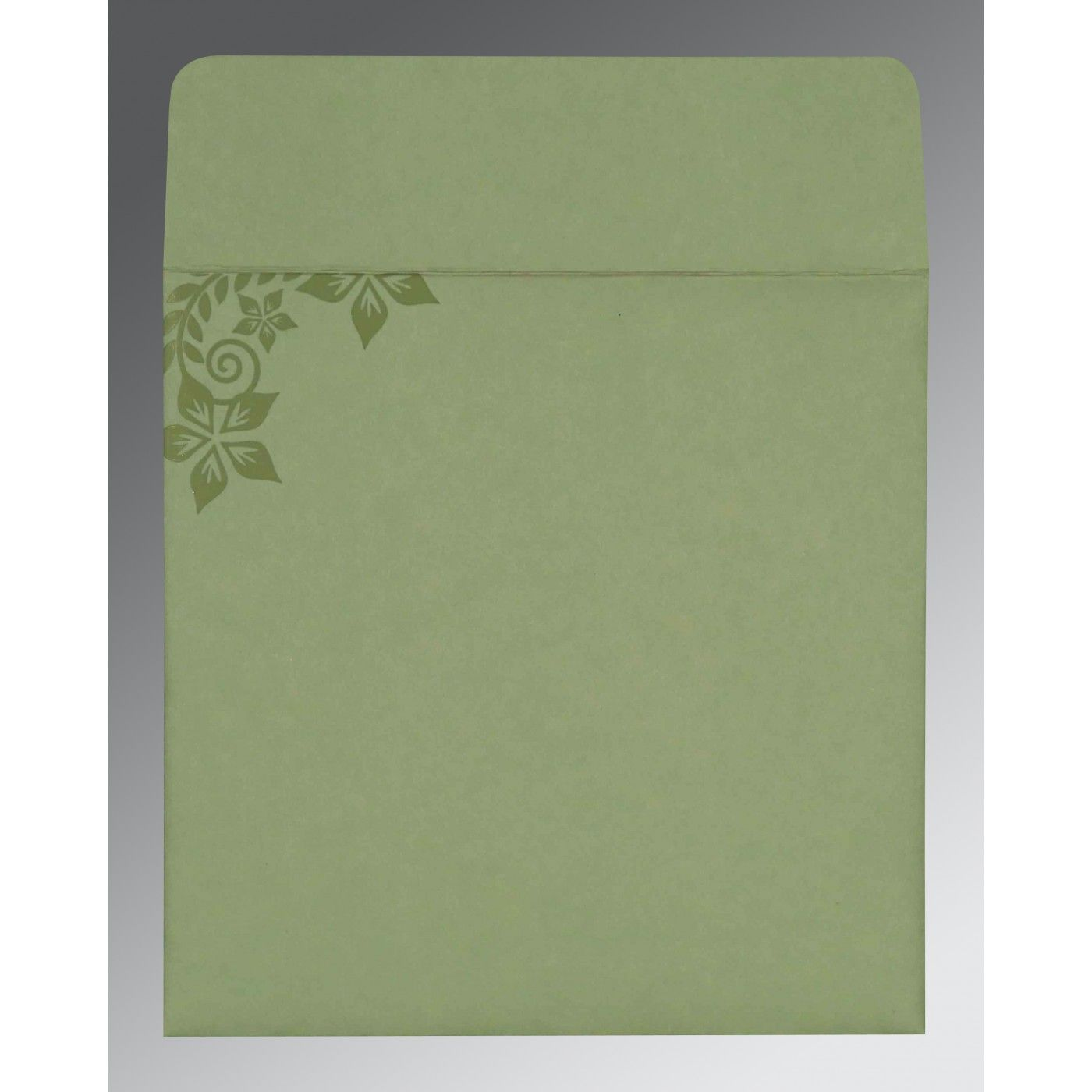 SAGE GREEN MATTE FLORAL THEMED - SCREEN PRINTED WEDDING INVITATION : CG-8240I - IndianWeddingCards