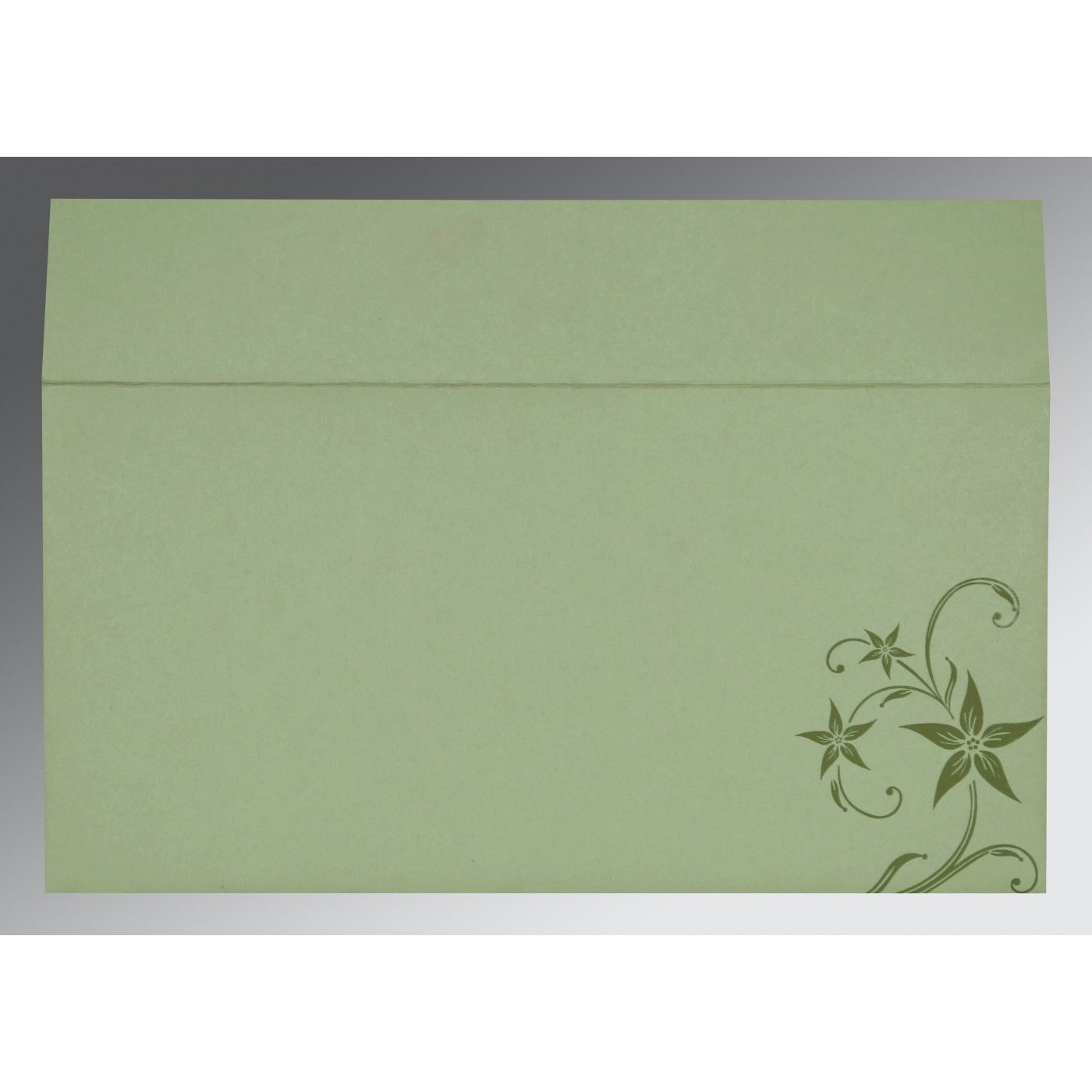 SAGE GREEN MATTE FLORAL THEMED - SCREEN PRINTED WEDDING INVITATION : CRU-8225E - IndianWeddingCards