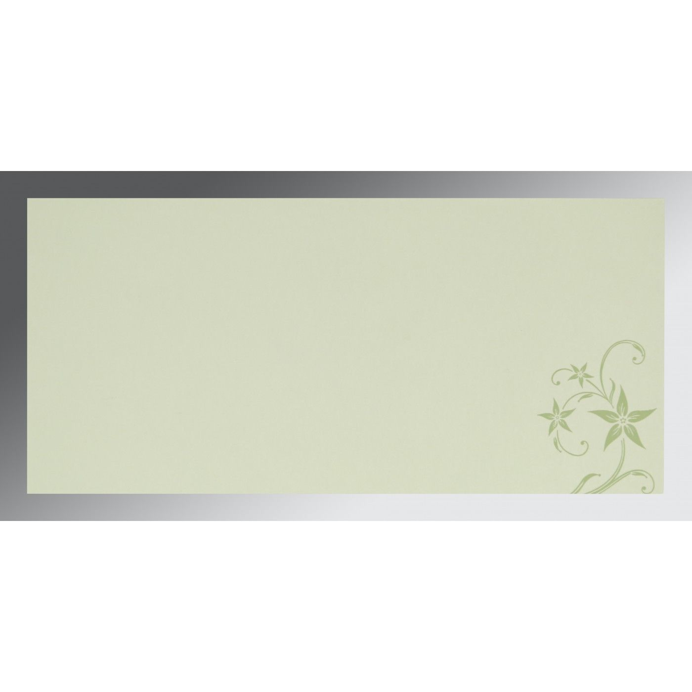 SAGE GREEN MATTE FLORAL THEMED - SCREEN PRINTED WEDDING INVITATION : CS-8225E - IndianWeddingCards